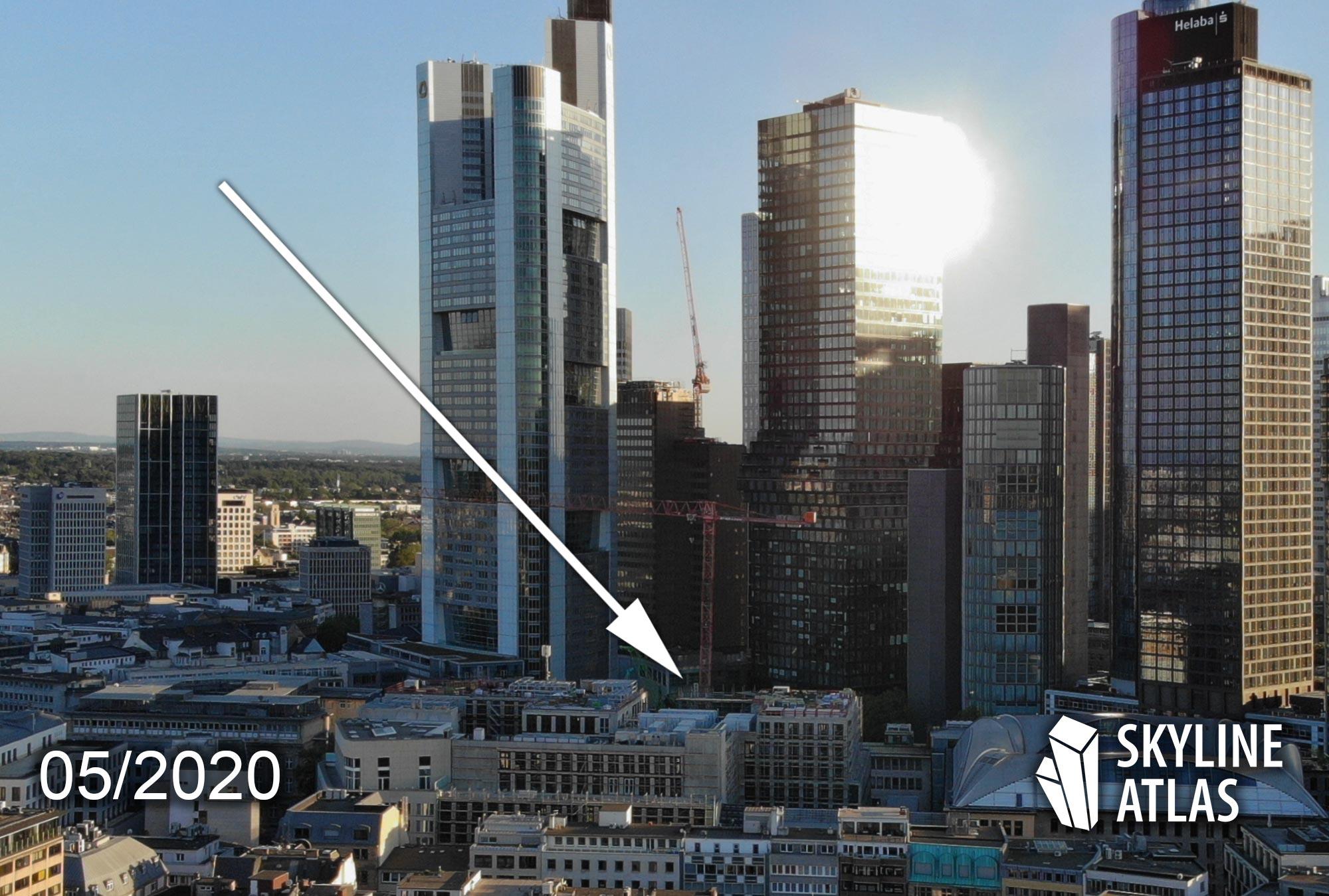 4Frankfurt - Hochhausquartier Groß & Partner im Bankenviertel Frankfurt - Four Frankfurt Drohnenaufahme - 4Frankfurt Baufortschritt- Baustelle Mai 2020