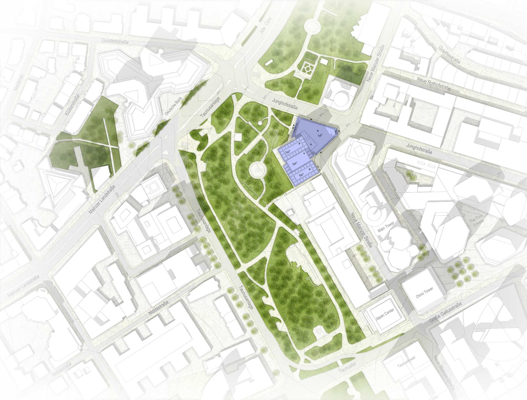 Neuer Helaba Turm Frankfurt Lageplan