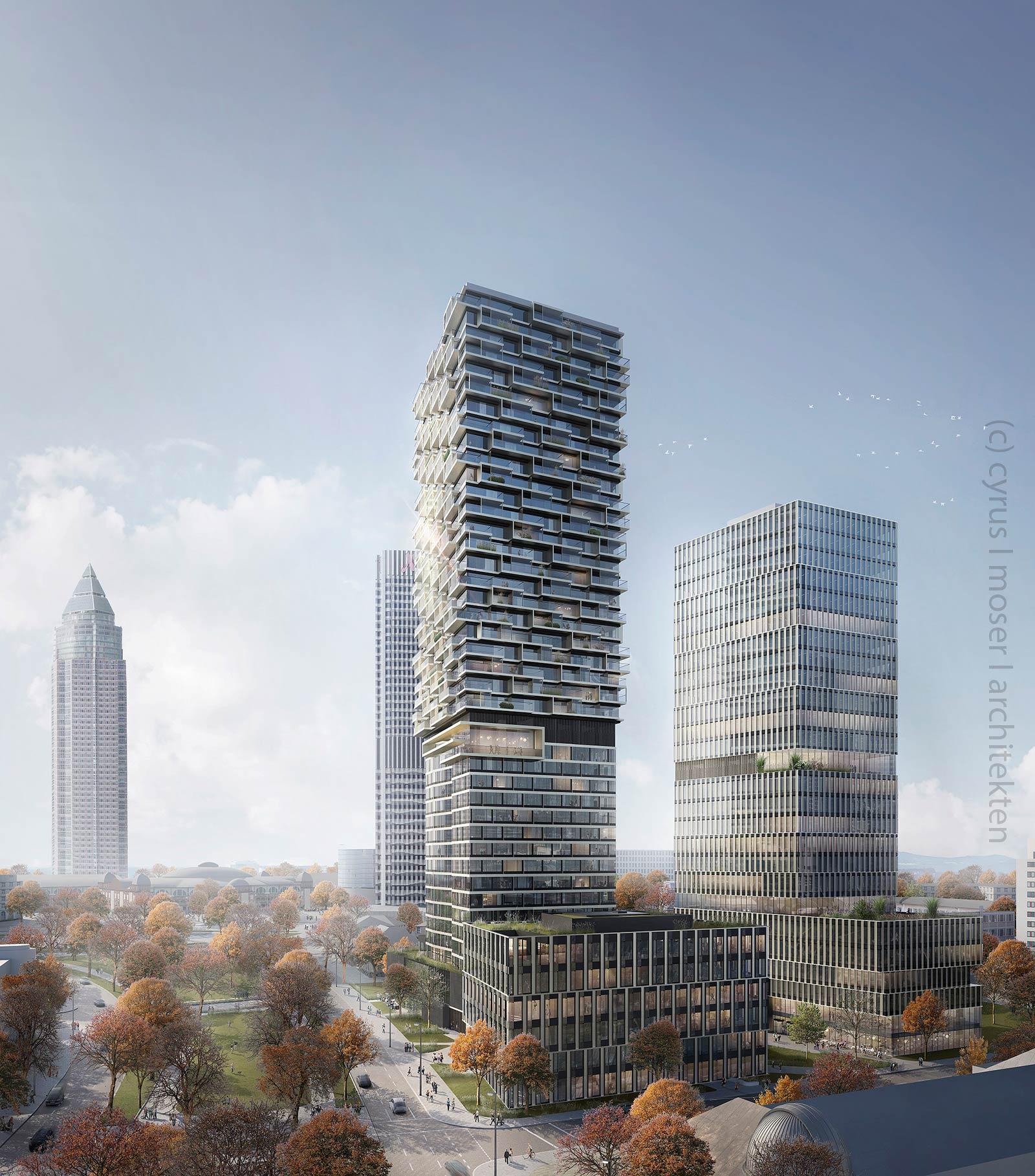 Geplantes Hochhaus Frankfurt - One Forty West - Senckenbergquartier - (c) Cyrus Moser Architekten - Commerz Real