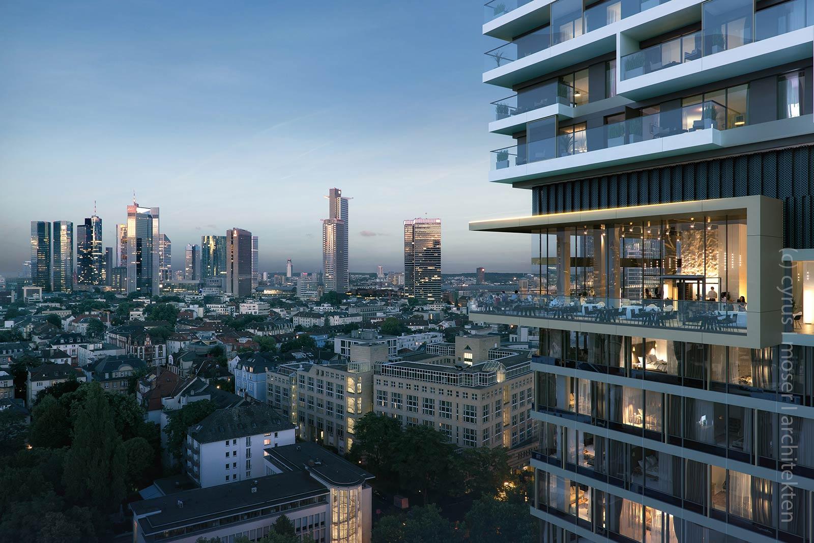 OneFortyWest Frankfurt - 140 West in Frankfurt - Blick aus Restaurant Skybar über das Westend