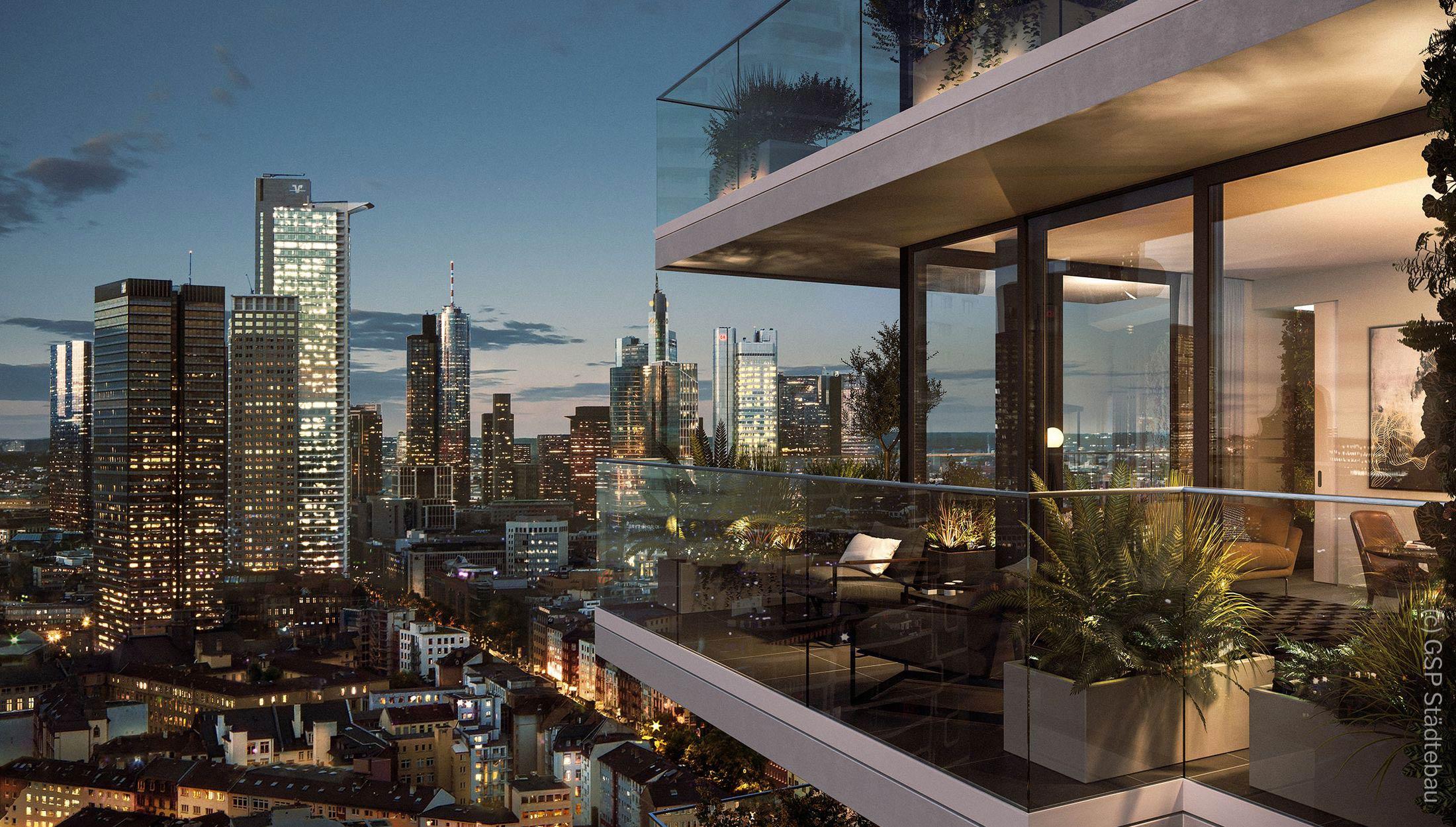 EDEN Frankfurt - Wohnturm Balkon Rendering - Neubau mit Aussicht auf die Skyline bei Nacht