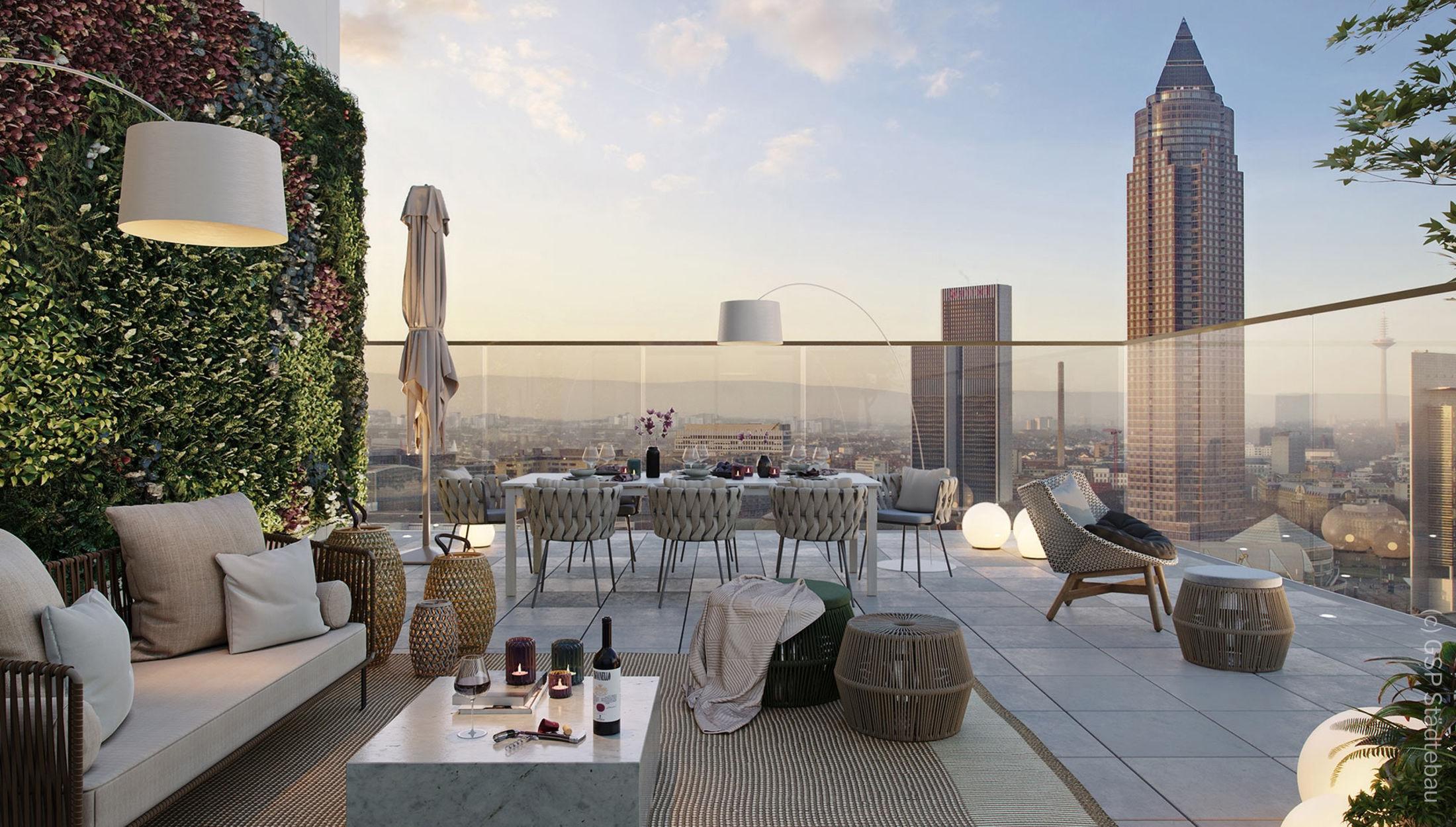 EDEN Tower Frankfurt - Dach Lounge - Dachterrasse für Mieter und Eigentümer