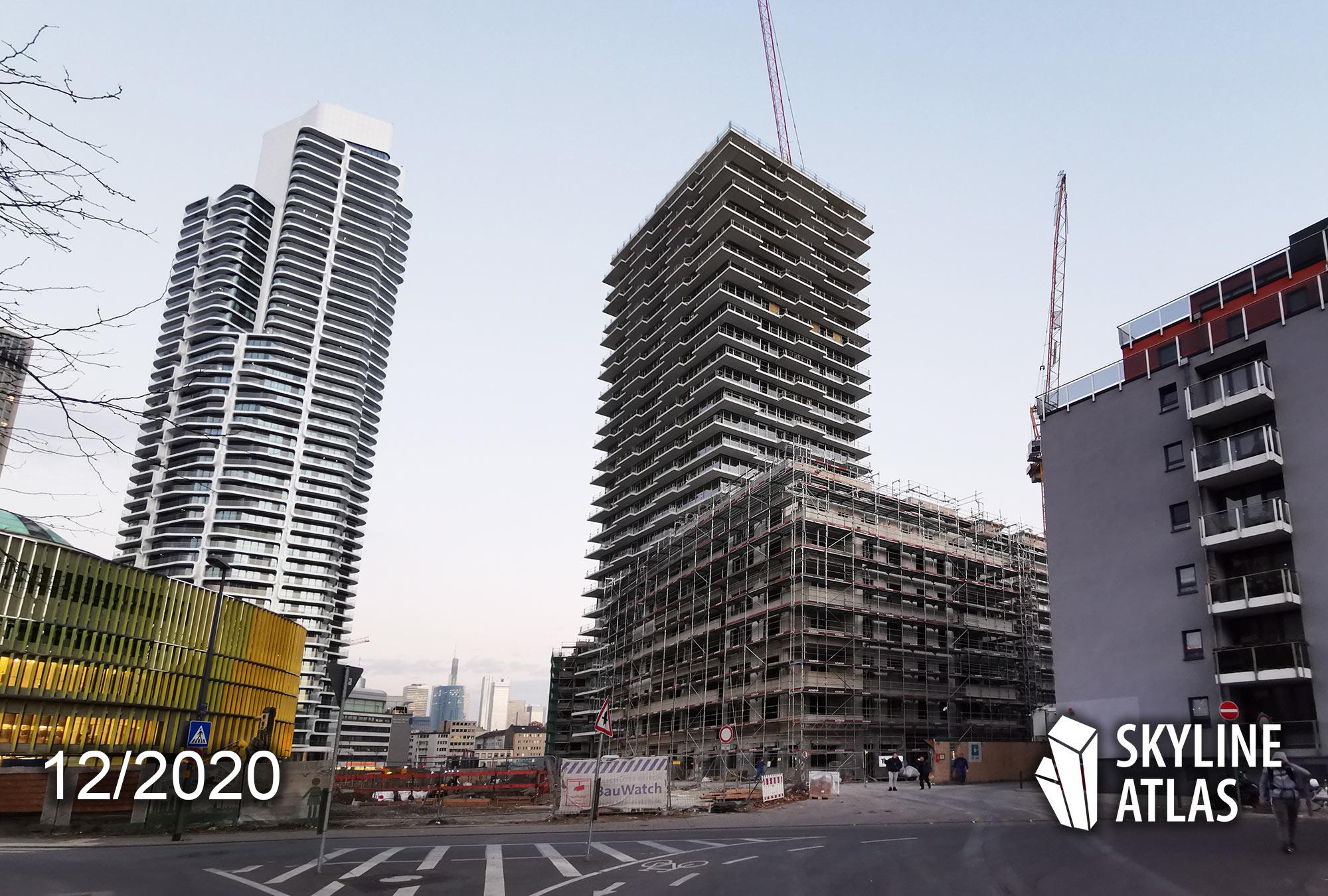 EDEN Tower Frankfurt - Eigentumswohnungen Frankfurt - In Frankfurter Wohnunge investieren - Wohnturm Europaviertel - Eden Baustelle Dezember 2020