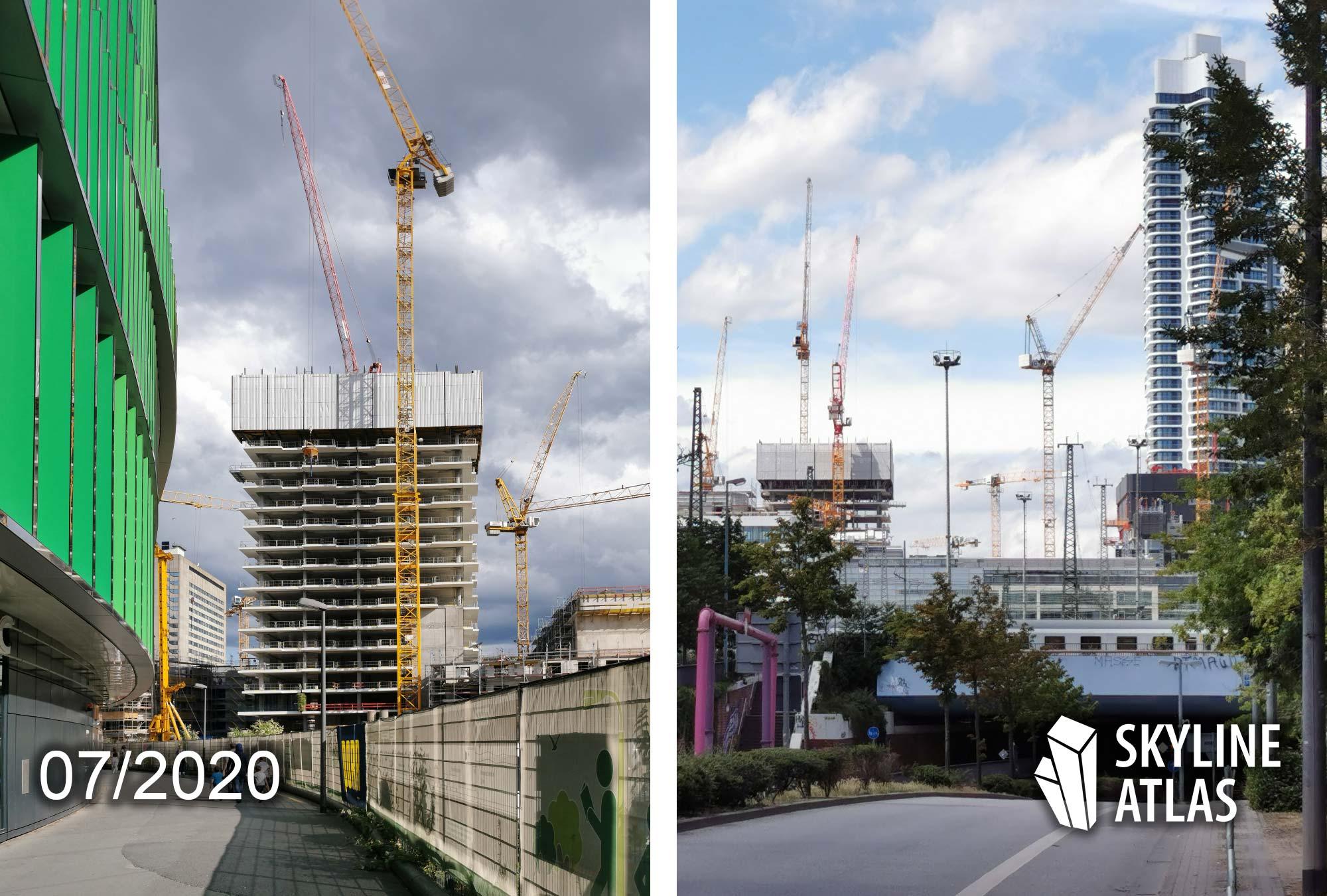 EDEN Wohnturm Frankfurt - Apartement Hochhaus - Baustelle im Sommer 2020 - Beton-Tragwerk EDEN Frankfurt - Baufortschritt - Architekt Helmut Jahn Chicago