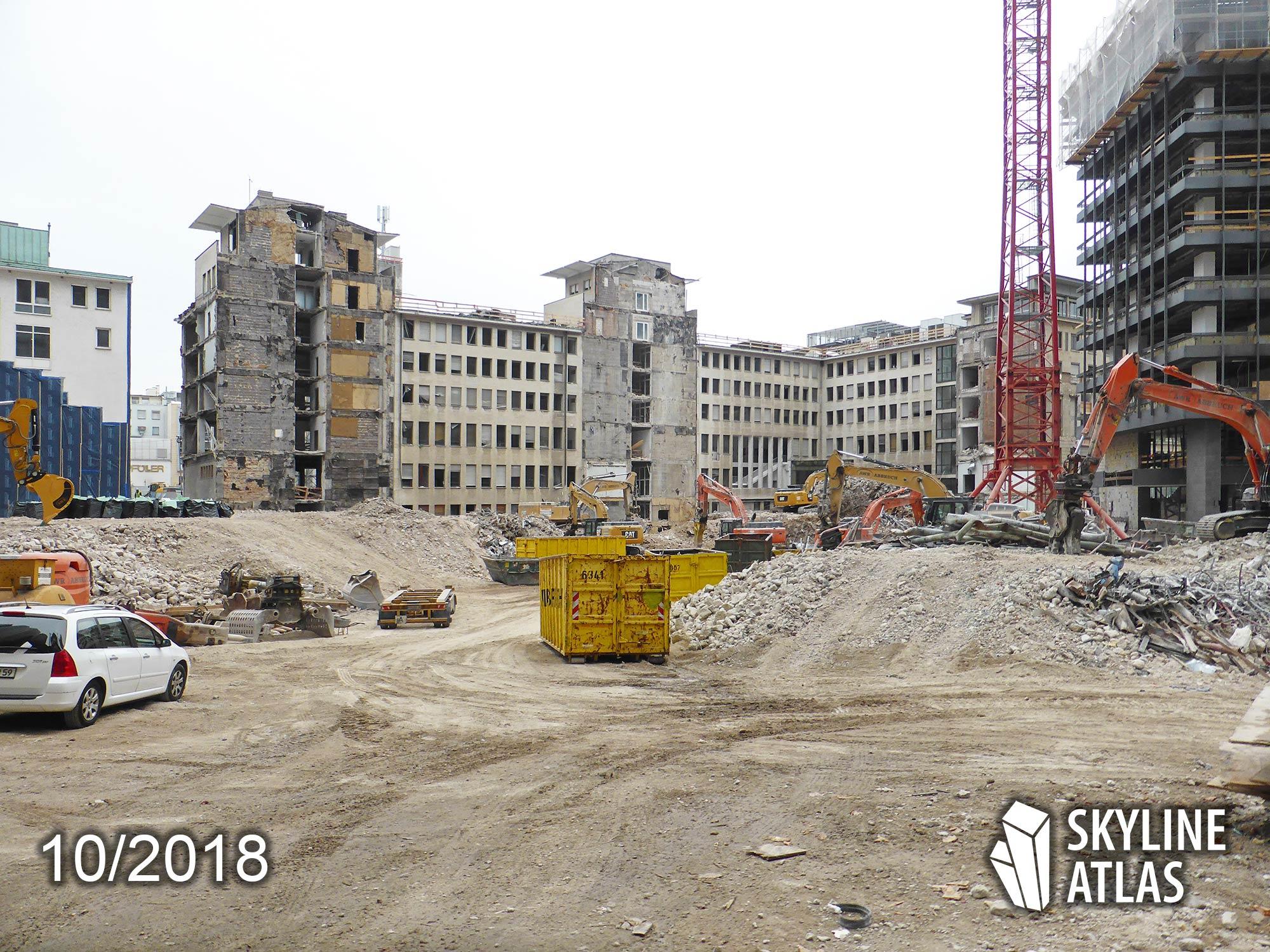 Ehemaliges Areal der Deutschen Bank in Frankfurt - hier wird FOUR Frankfurt gebaut - Oktober 2018