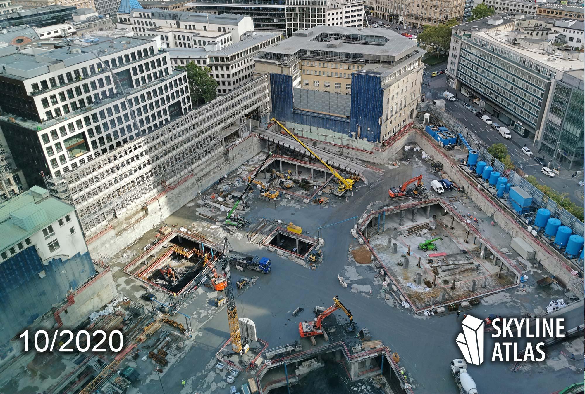 FOUR Frankfurt - Baustelle Okt 2020 - Baufortschritt Oktober 2020 - For Frankfurt Wolkenkratzer von Groß & Partner im Bankenviertel