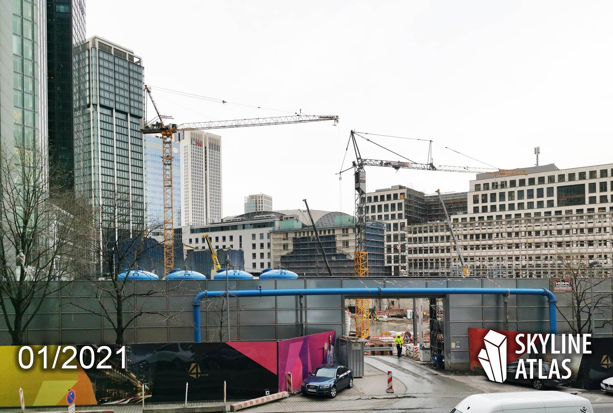 Frankfurt Four Baustelle - For Frankfurt am Main - Bankenviertel Wolkenkratzer - Four Baustelle Januar 2021