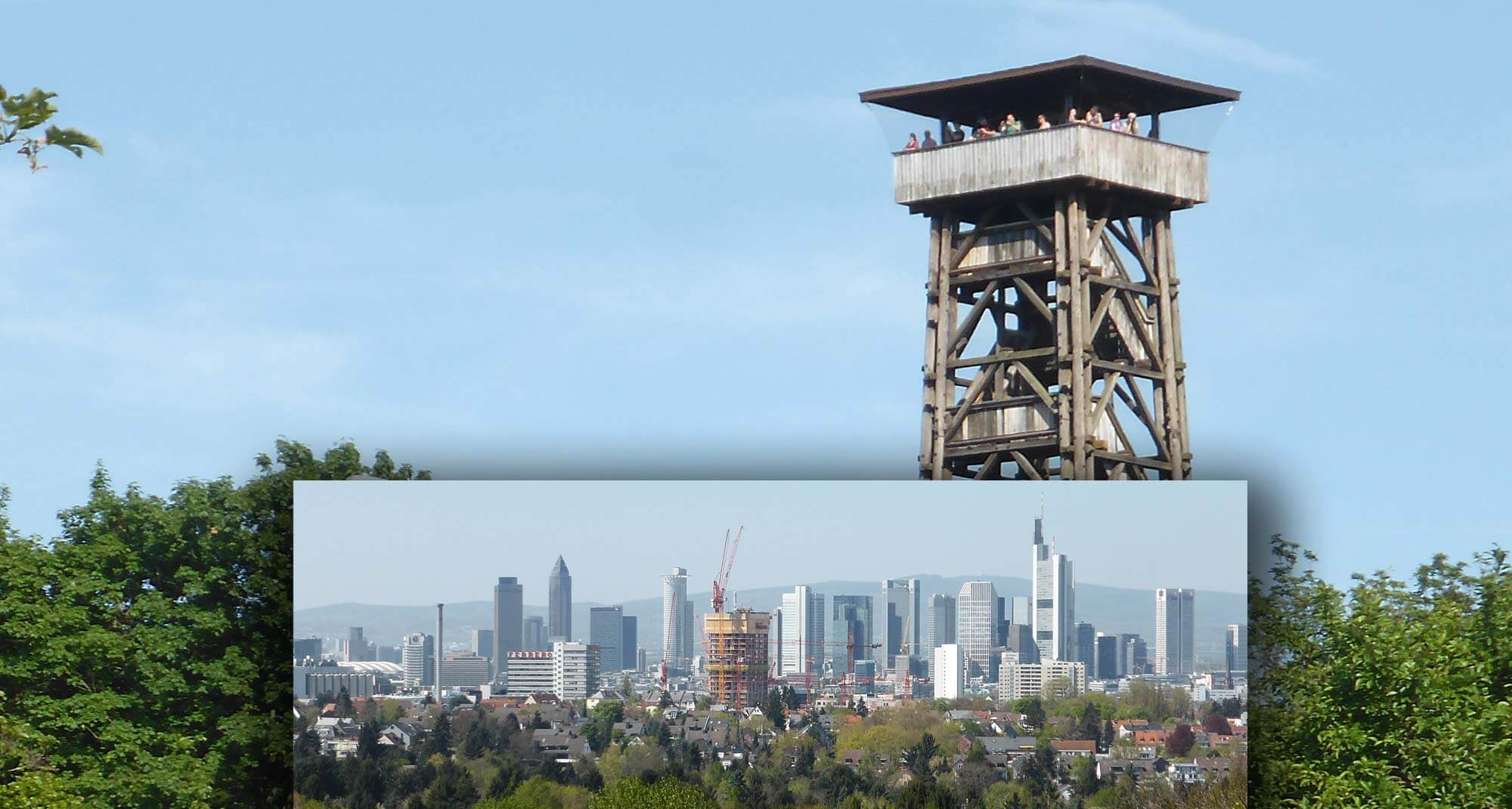 Der Blick vom Sachsenhäuser Goetheturm auf die Frankfurter Skyline