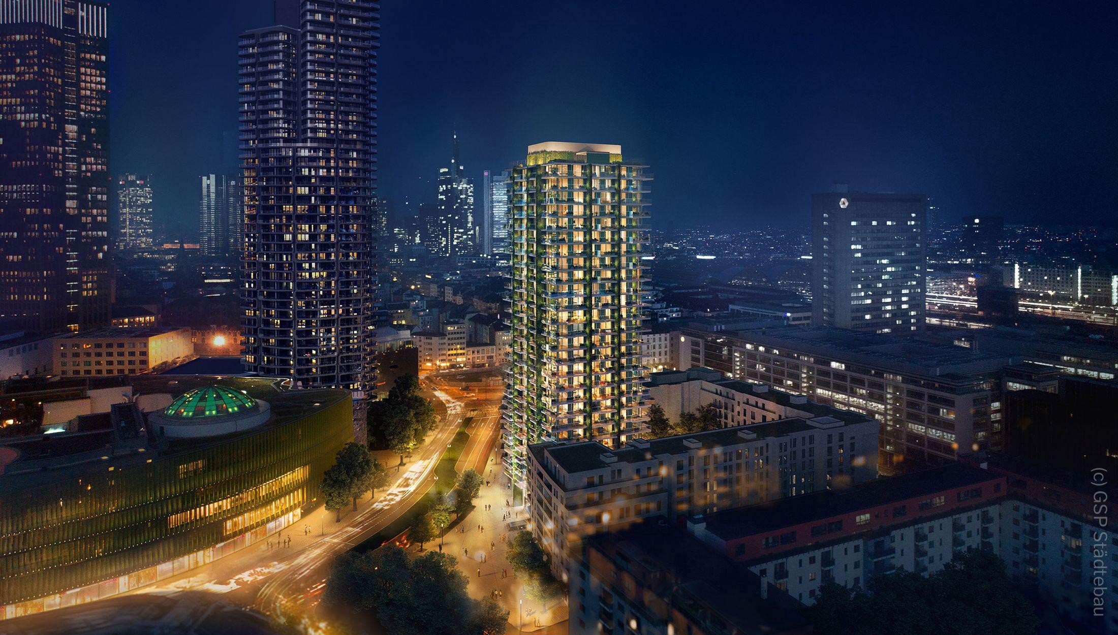 GSP Projektentwicklung - Wohnturm Immobel in Frankfurt - EDEN Turm - Nachtaufnahme der Neubauwohnungen