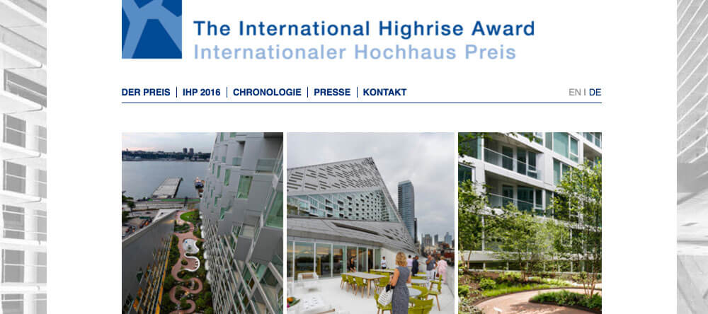 Internationaler Hochhauspreis Website und Logo