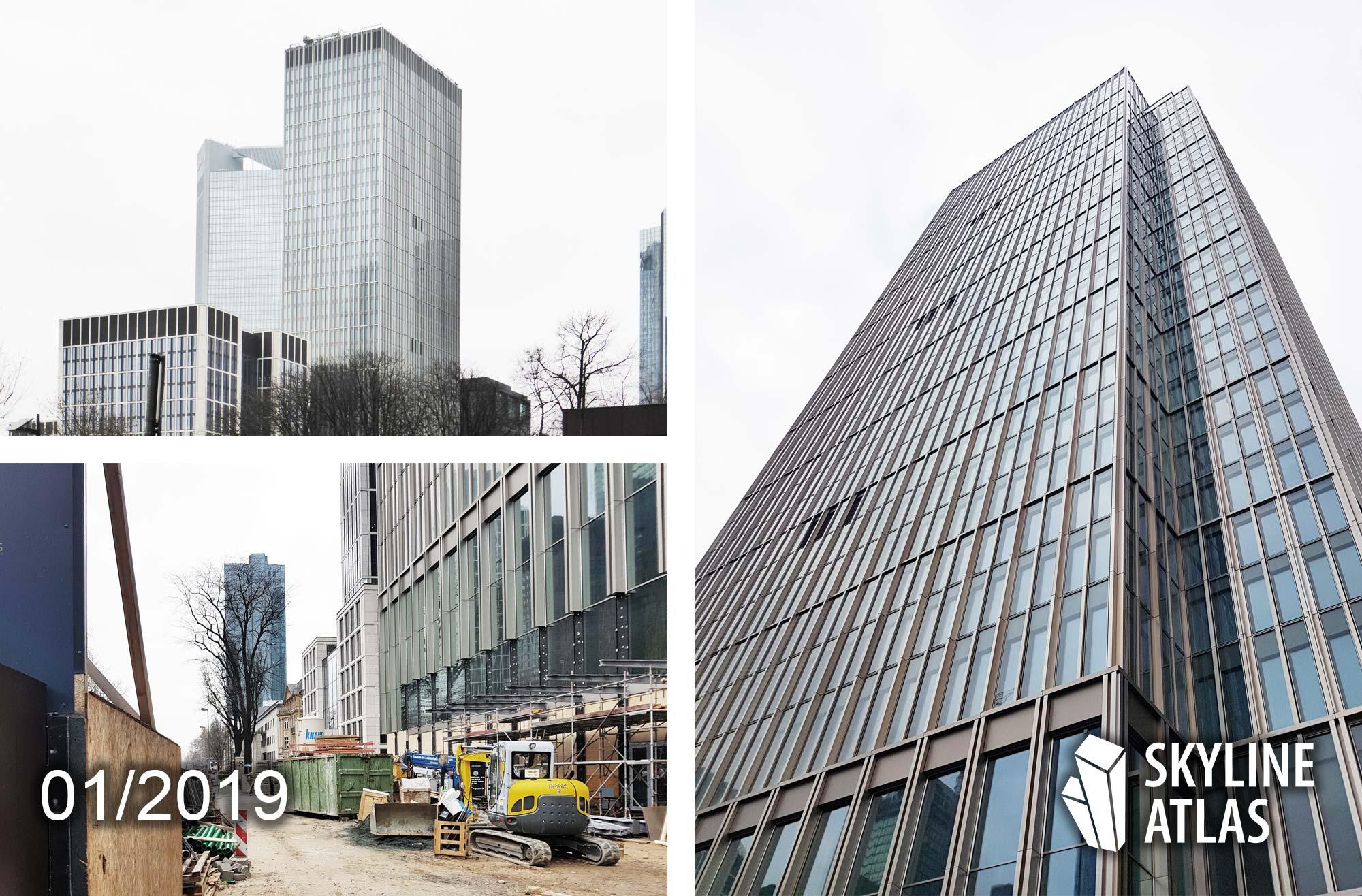 Marienturm und Marienforum in Frankfurt - Hochhaus im Bau - Januar 2019 - Zukünftigter Hauptsitz von Goldman Sachs Deutschland