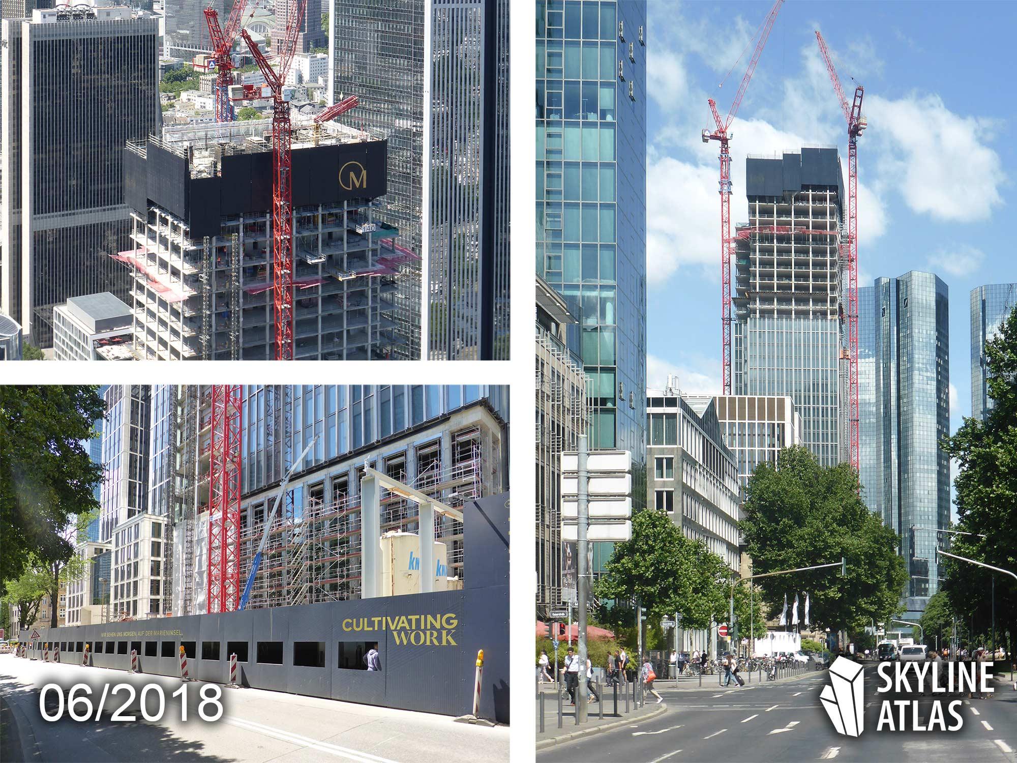 Marienturm in Frankfurt - Juni 2018 - Hochhaus im Bau