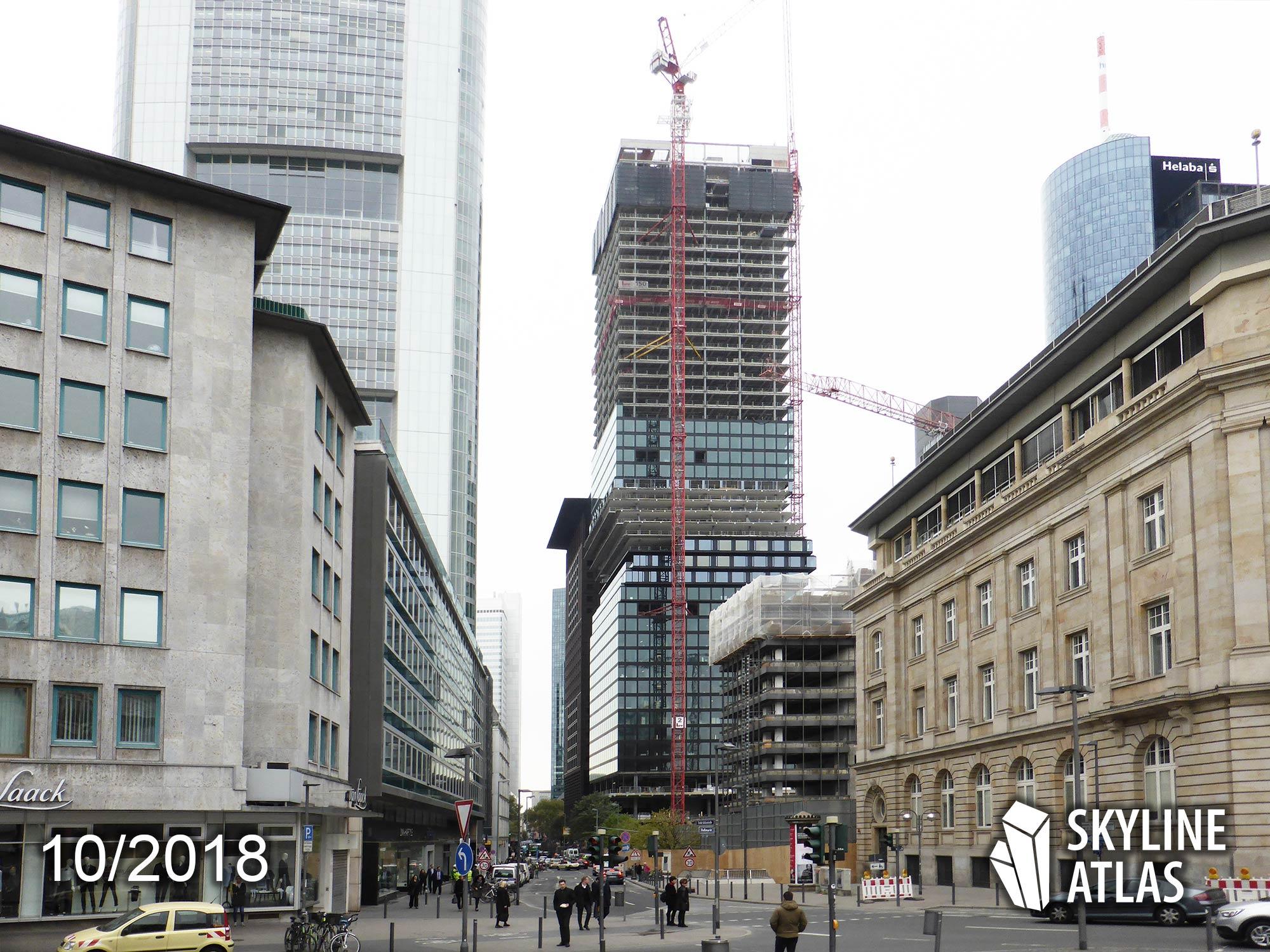 OmniTurm - Wolkenkratzer in der Stadt Frankfurt - im Bau - Bankenviertel - Oktober 2018