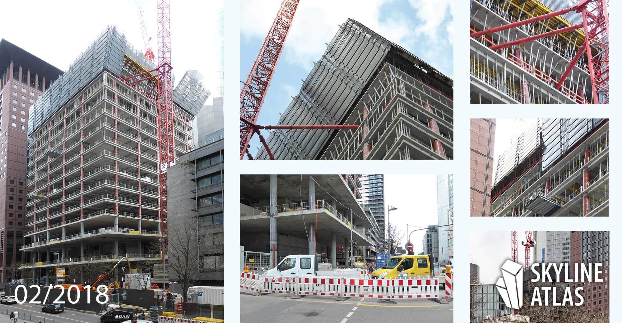 OmniTurm Wolkenkratzer Frankfurt - Bankenviertel - im Bau - Februar 2018
