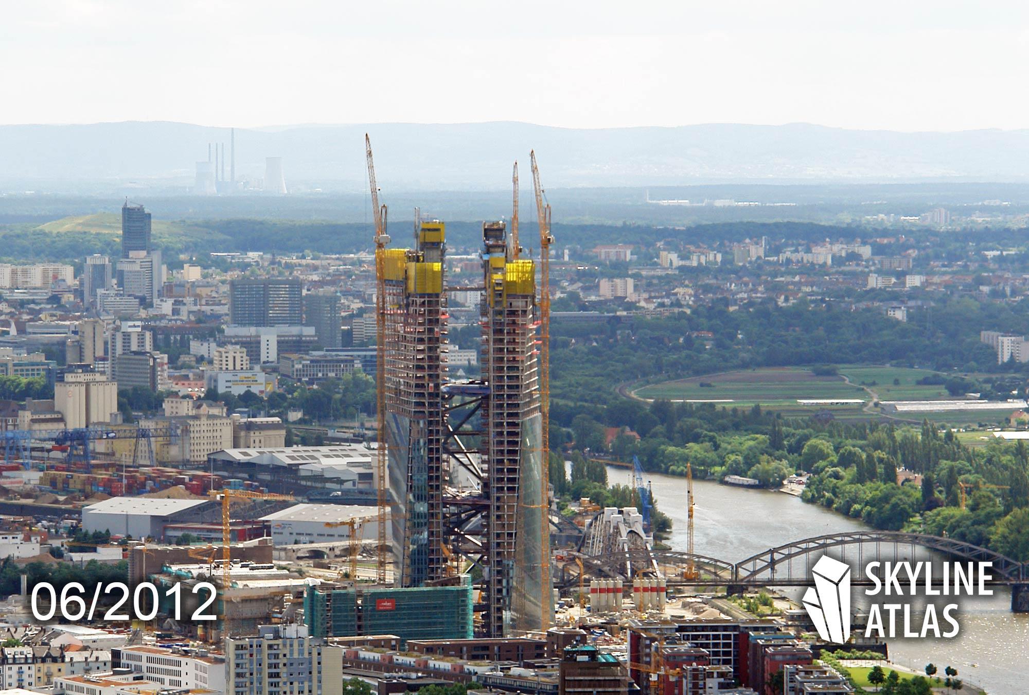 Tragwerk der EZB-Doppeltürme entsteht - Bauarbeiten Europäische Zentralbank - Juni 2012