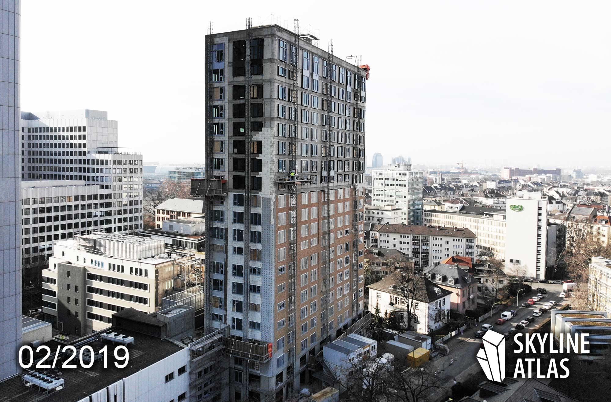 Blue Horizon in Frankfurt am Main - Baustelle im Februar 2019 - Wohnturm - Wohnhochhaus - Eigentumswohnungen - Projektentwickler Unmüssig