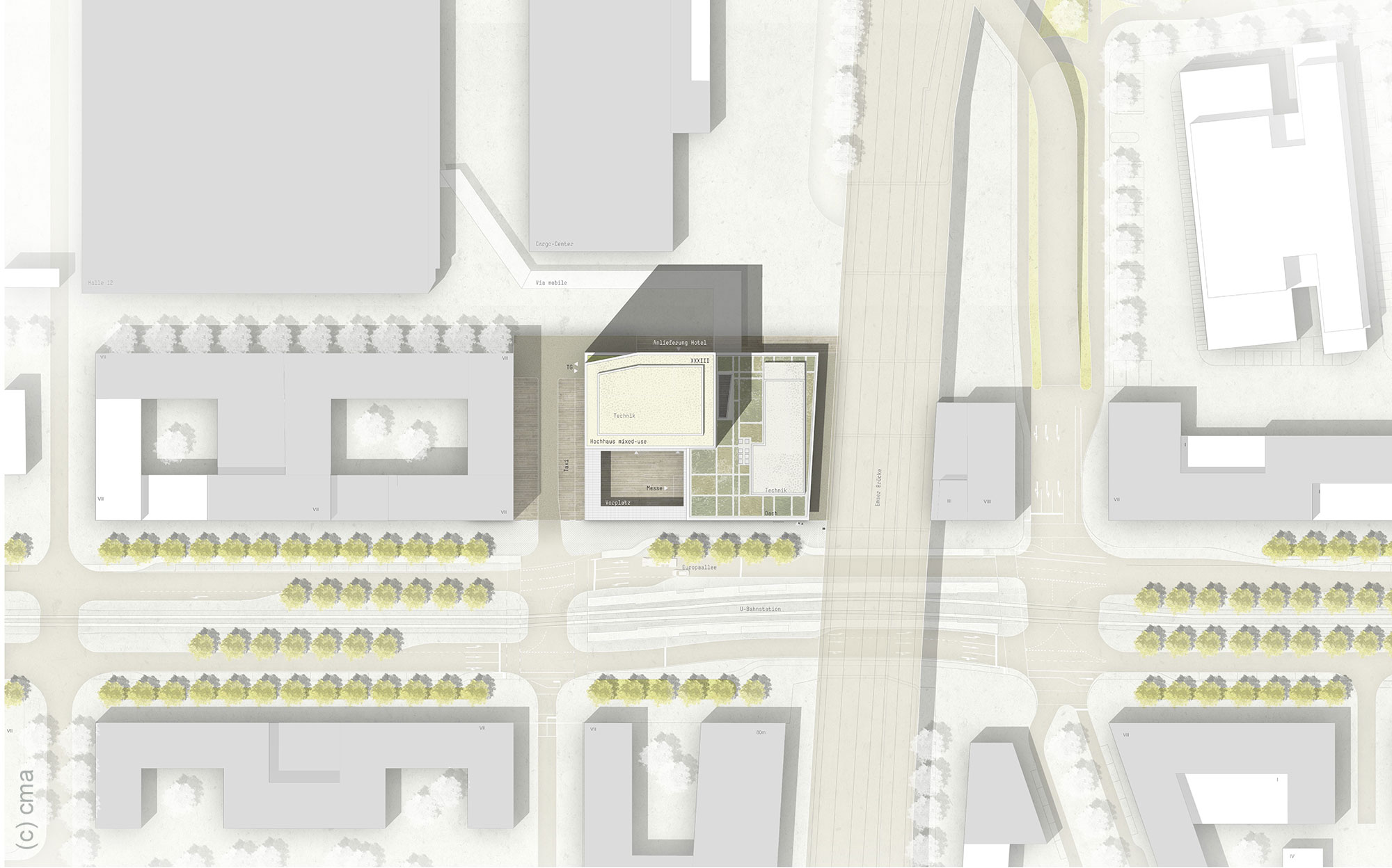 Neubau Messe Frankfurt - Neues Messehochhaus - Messeeingang Süd Lageplan