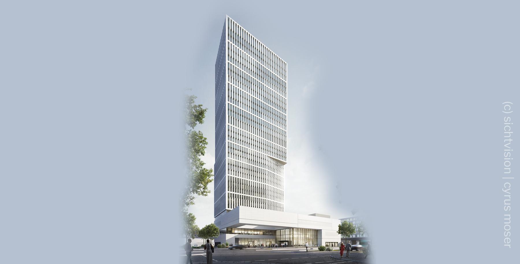 Sparda-Bank Tower FFM - Sparda Bank Tower Frankfurt am Main - Neubau Sparda Bank Hessen eG - Architektur von cyrus moser - Computer Animation Frankfurt von Sichtvision
