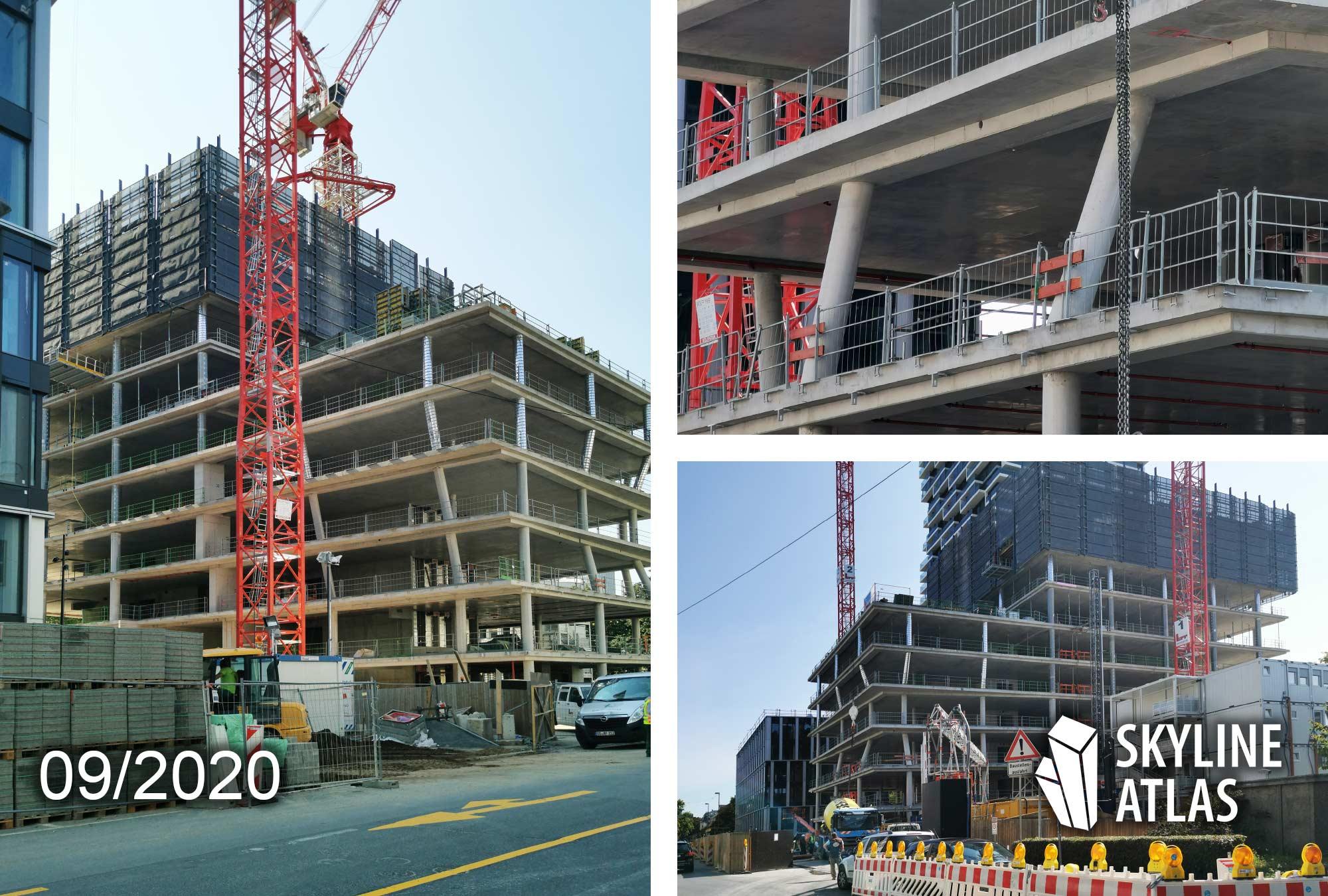 99 West Frankfurt - Ninty Nine West - Hochhausbaustelle - Baufortschritt - Betonarbeiten - September 2020