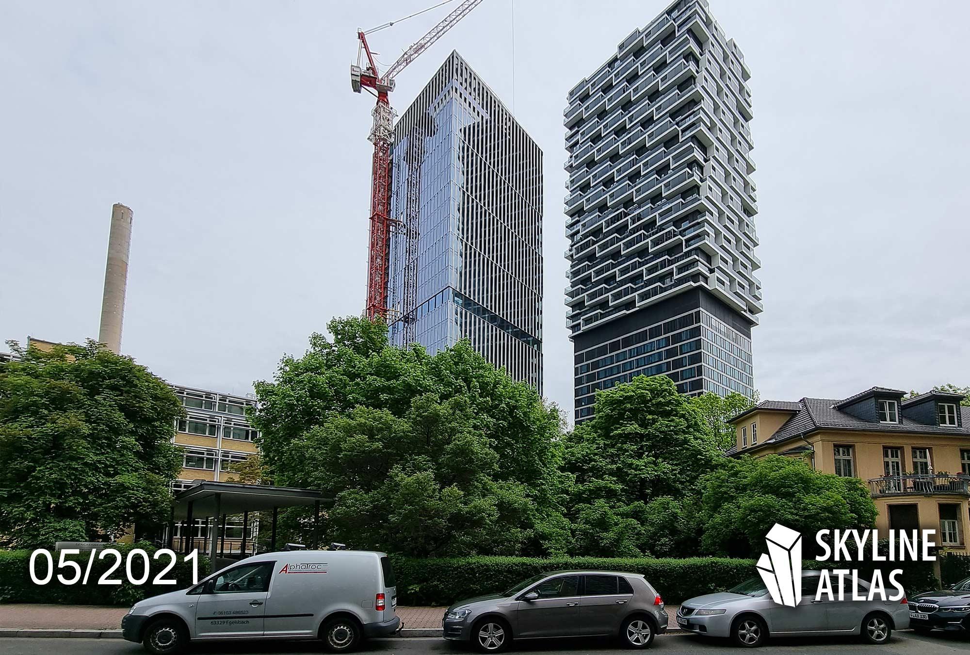 99west Frankfurt - 99 West Frankfurt am Main - Senckenberg Turm FFM - Baustelle NAS Invest Wolkenkratzer Bockenheim - Hochhaus Kulturcampus - Baustelle Mai 2021