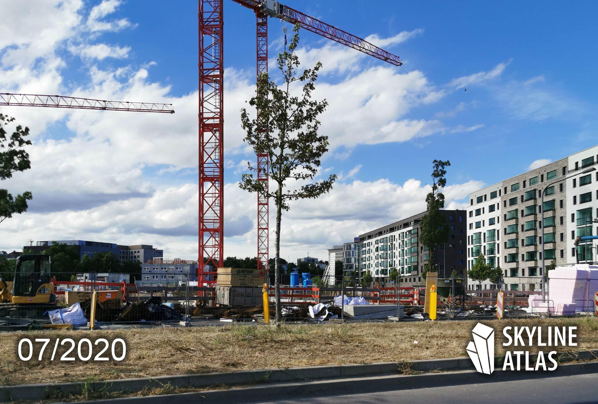 B & L Gruppe Frankfurt - Baufortschritt HPQ - Hafenparkquartier Frankfurt - Sommer 2020