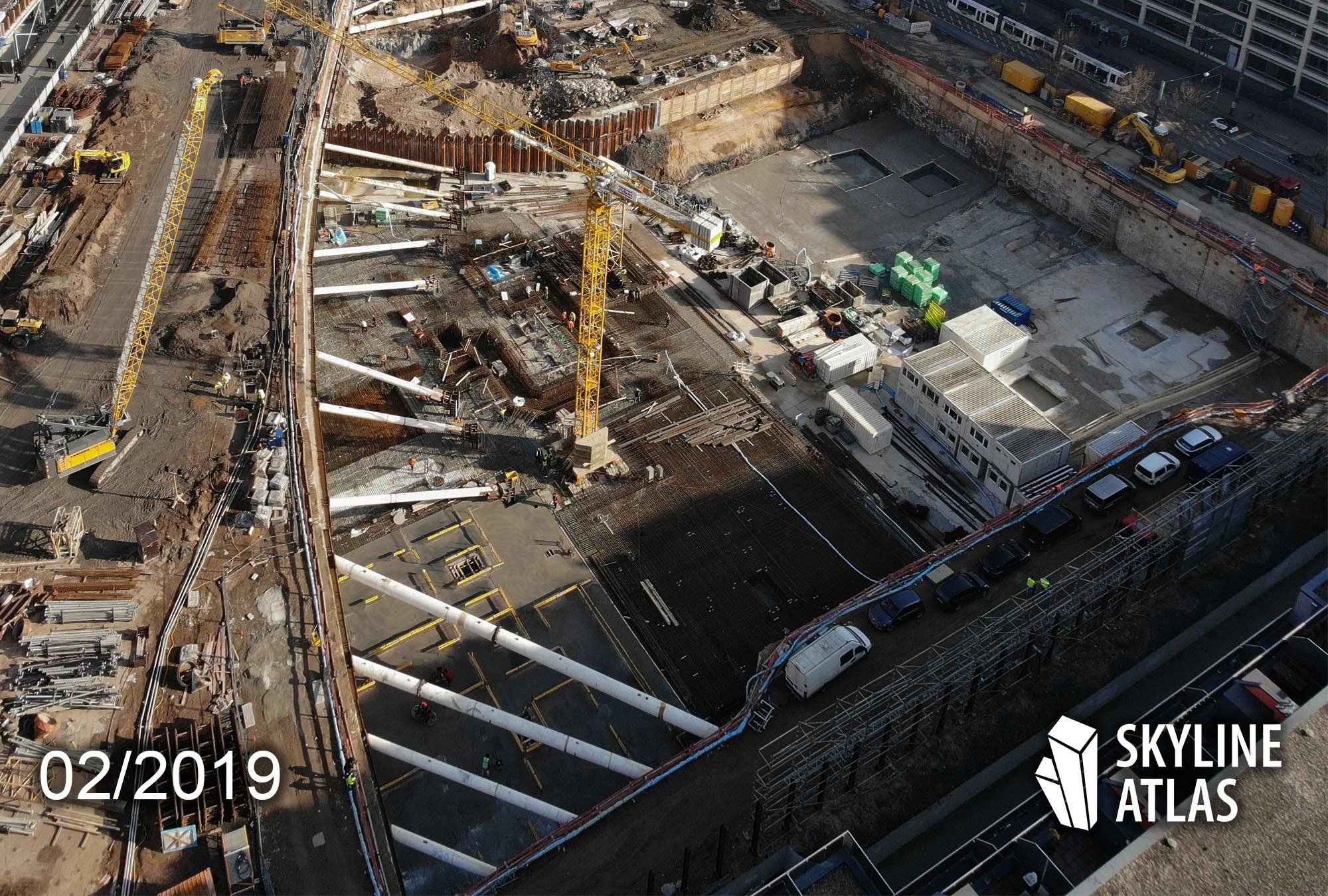 EDEN Frankfurt am Main - Neubau-Wohnungen im Hochhaus - Neubauprojekt an der Mainzer Landstraße im Gallusviertel - Baustelle im Februar 2019