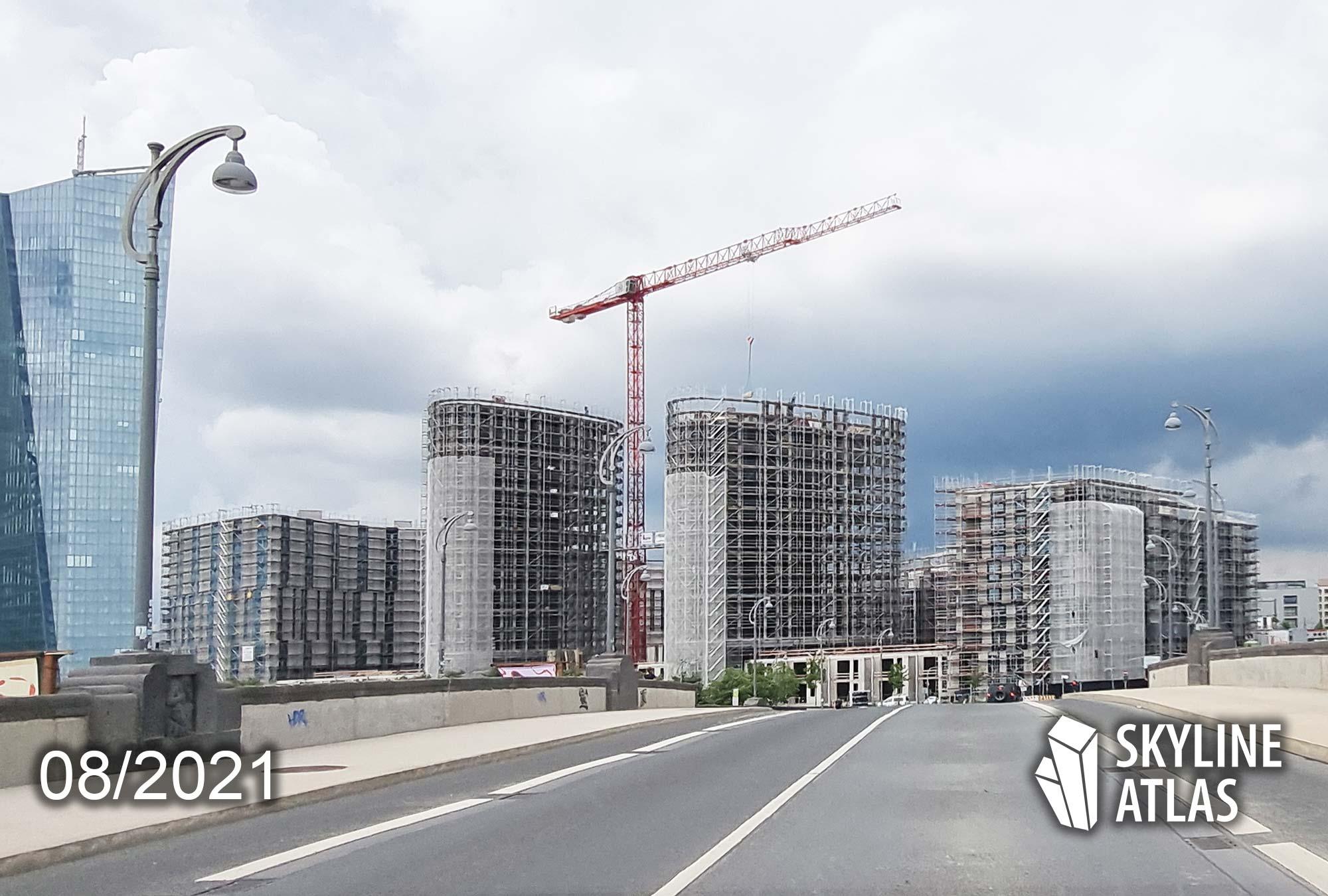 Frankfurt HPQ - Hafenparkquartier - Baustelle Eigentumswohnungen Ostend - August 2021