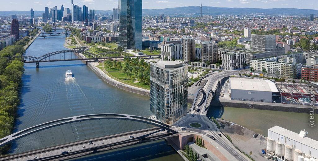 Hafenpark Quartier Frankfurt am Main - HPQ FFM - Hafen Park Quartier Frankfurt a.M. - Projektentwickler B&L Gruppe Hamburg - XOIO Berlin Visualisierung - Computer Animation Hochhaus Projekt