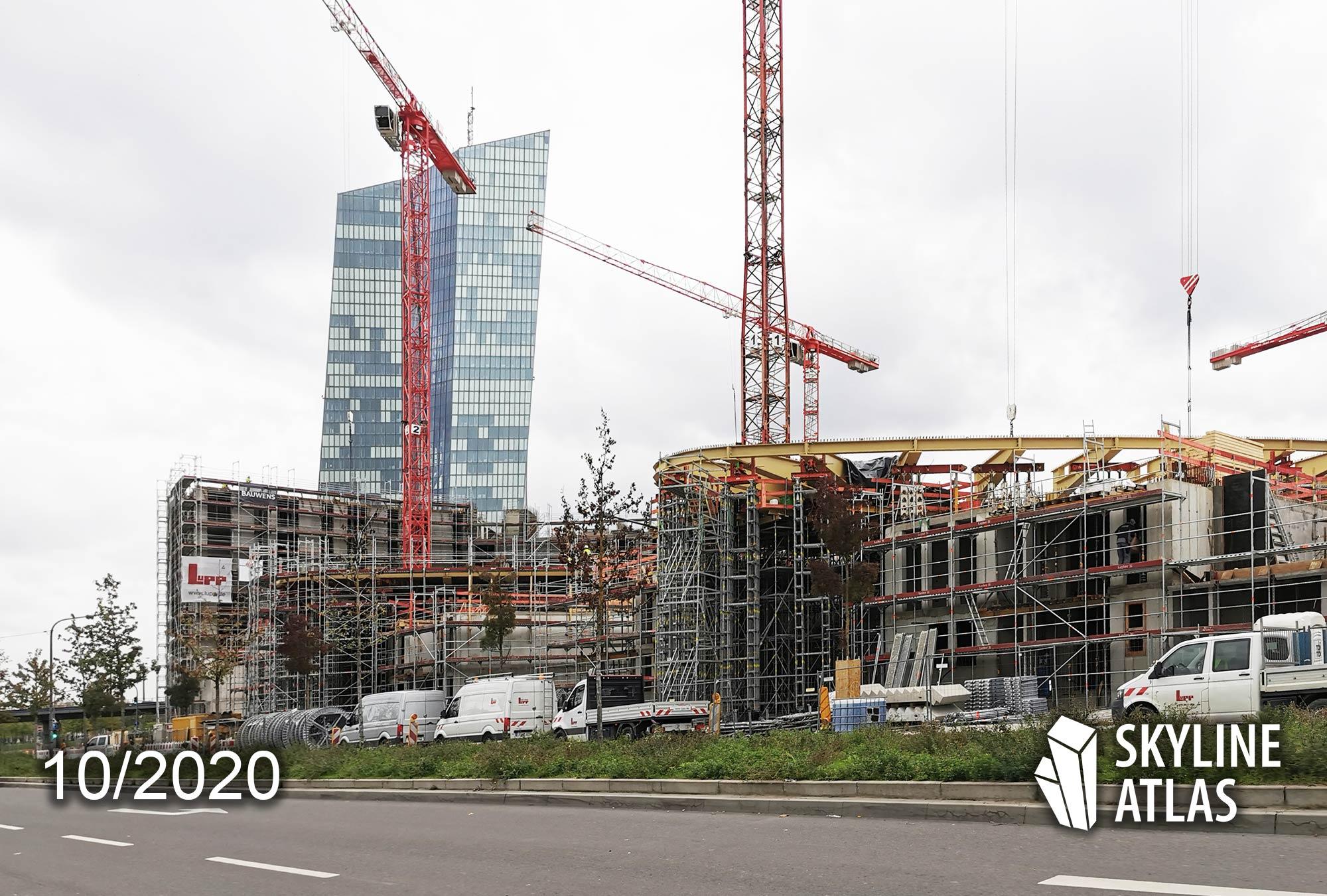 HPQ Frankfurt - Hafenpark Quartier Frankfurt - Neue Hochhäuser am Hafen Park Frankfurt - Ostend - Baustelle Oktober 2020