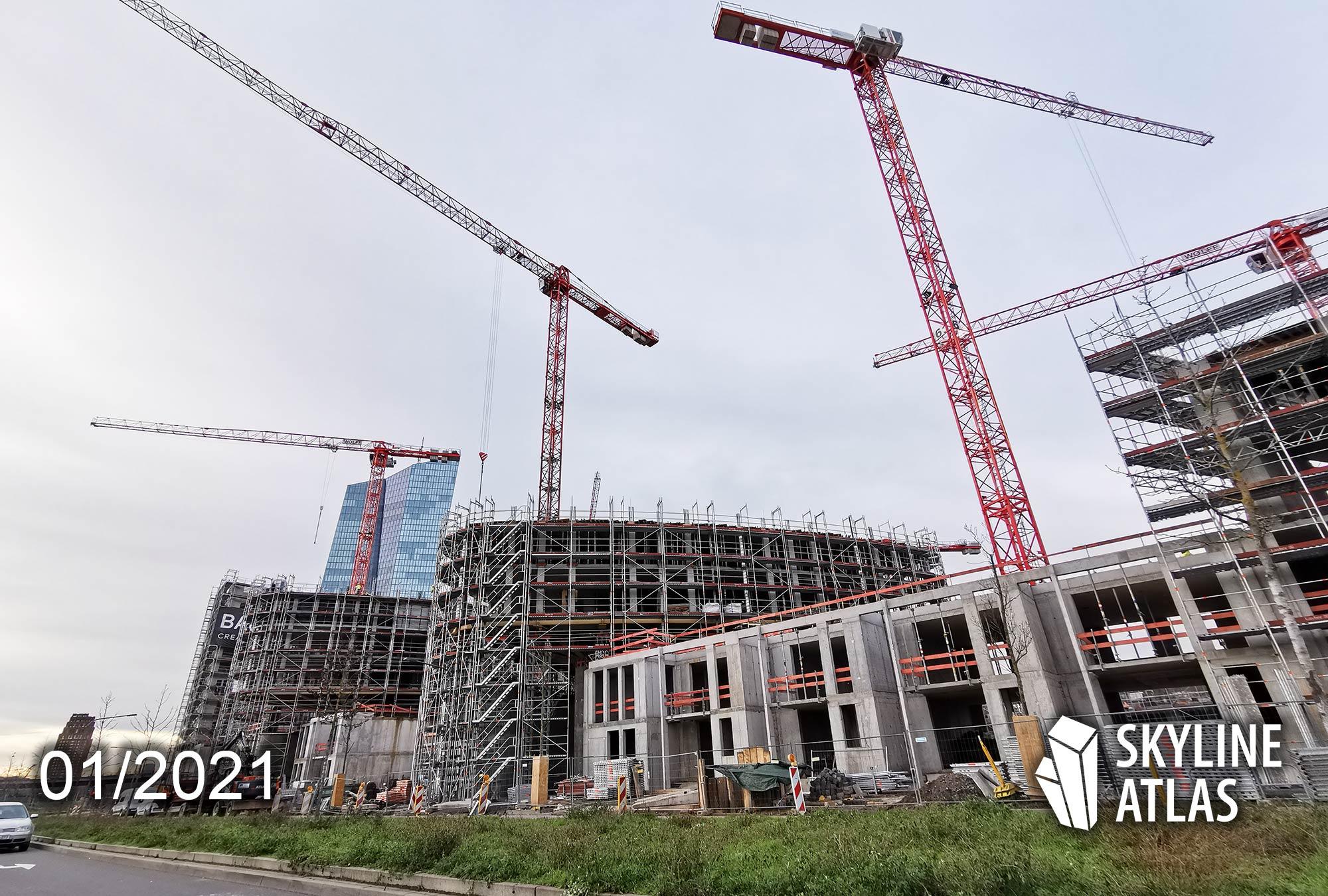 HPQ Frankfurt - Hafenpark Quartier - Neubau Wohnungen Ostend - Baustelle Januar 2021