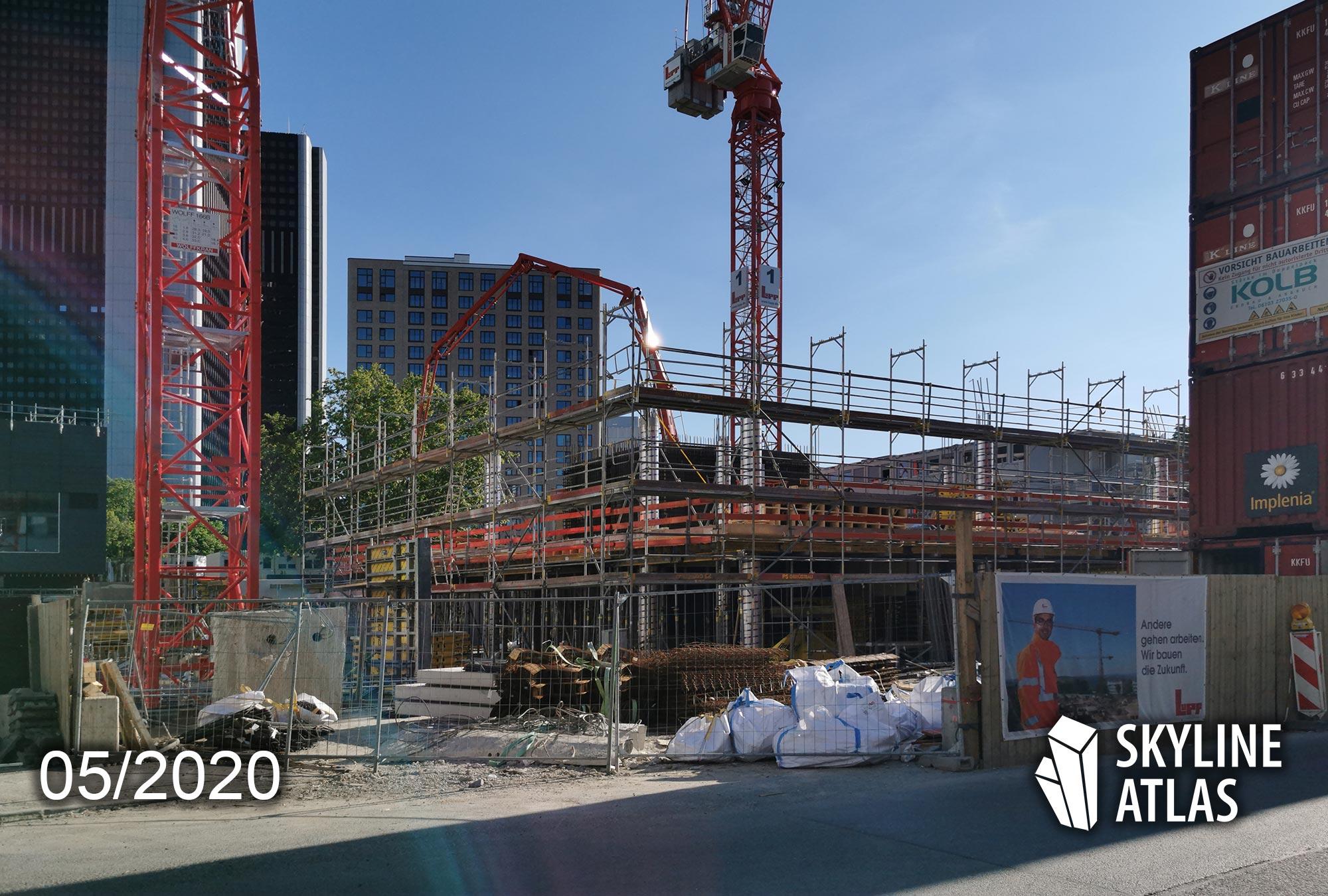 Ninty Nine West Tower der BNP Paribas Real Estate - Büroturm Frankfurt von cyrus moser architekten (cma) - Senckenberg-Quartier im Mai 2020 - Baustelle - Baufortschritt