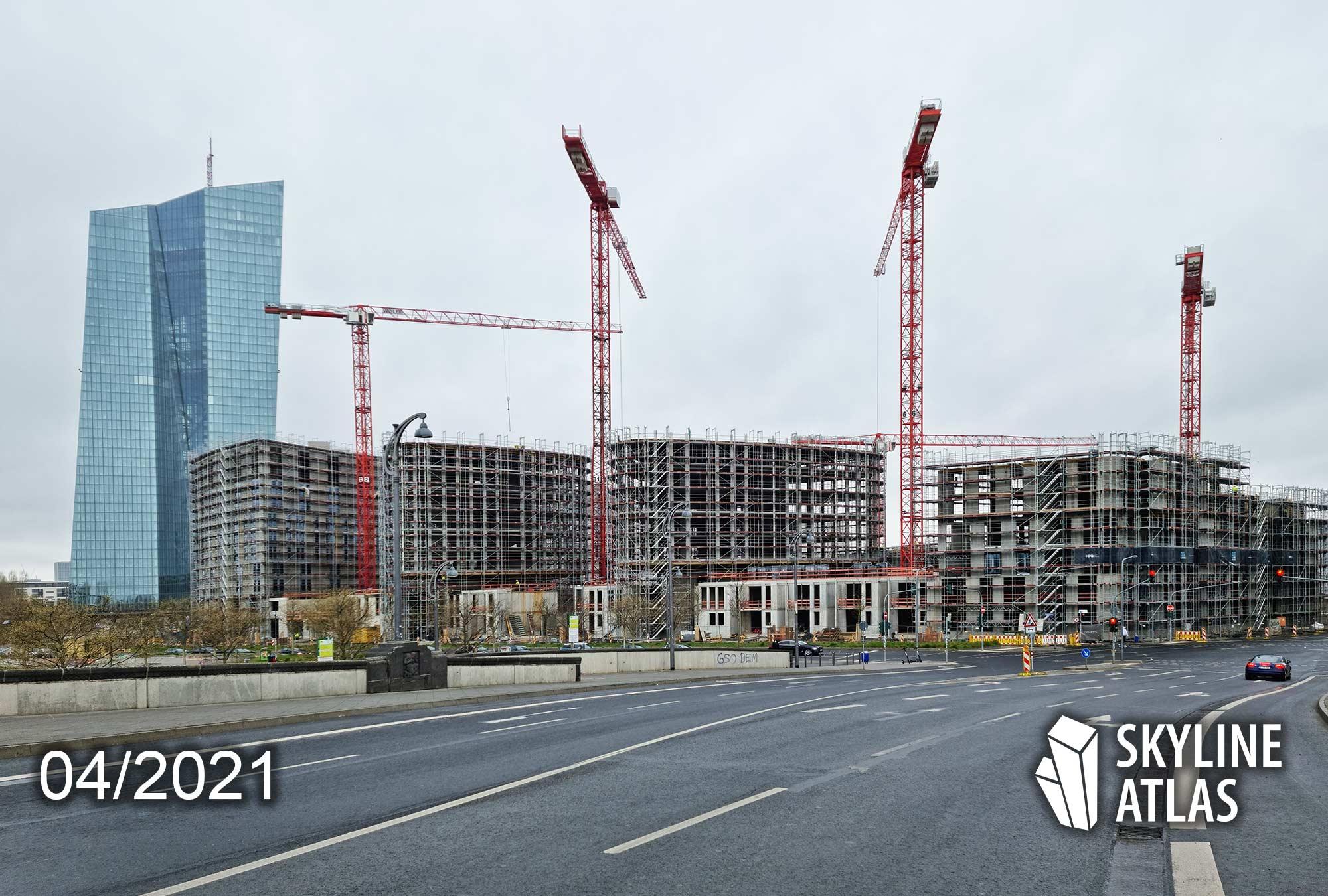 Ostend Frankfurt Wohnungen - Eigentumswohnungen Frankfurt - Hafenpark Wohnungen - EZB Wohnungen - April 2021 Baustelle