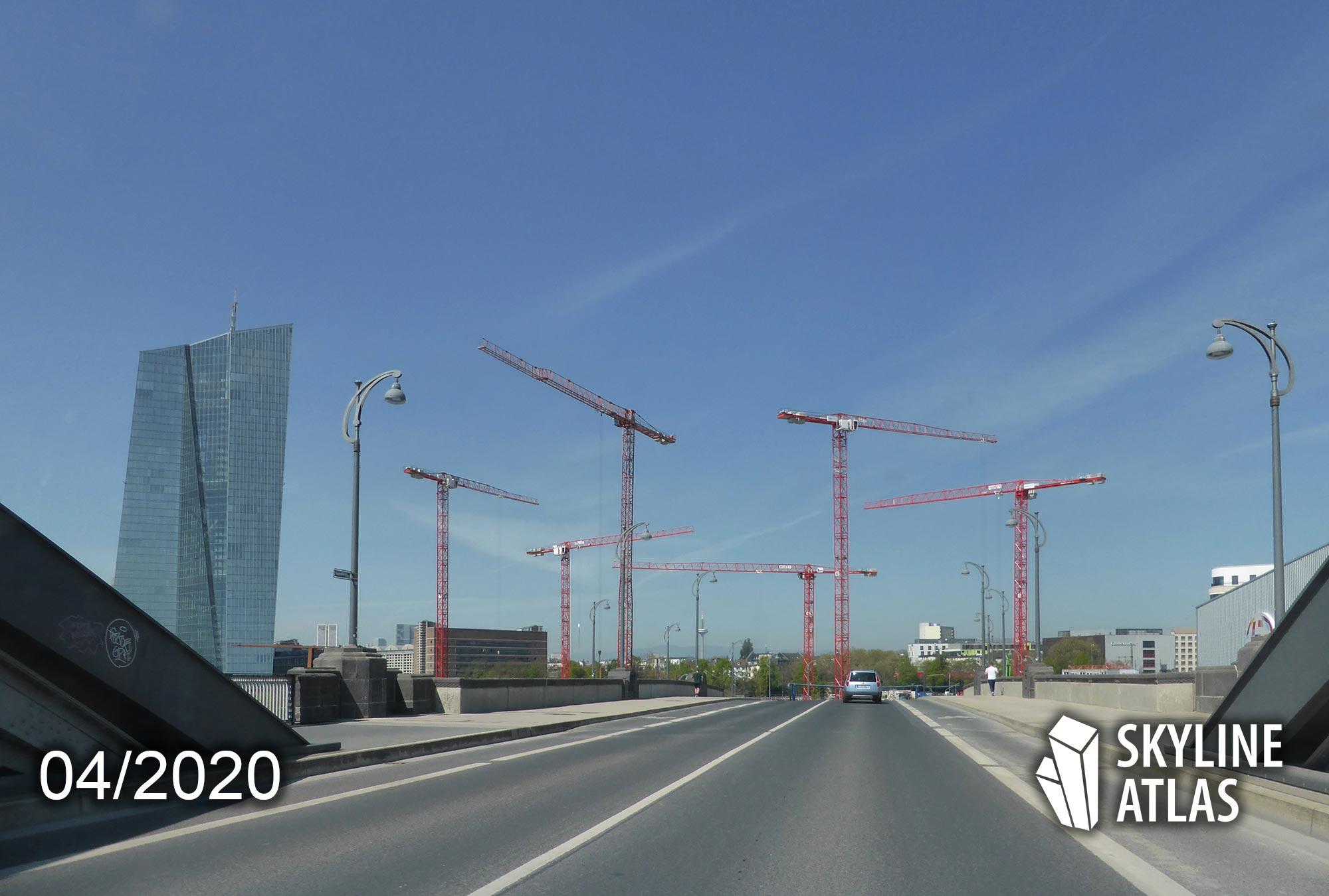Osthafen Hochhäuser Frankfurt - Hafenpark Quartier Baufortschritt April 2020