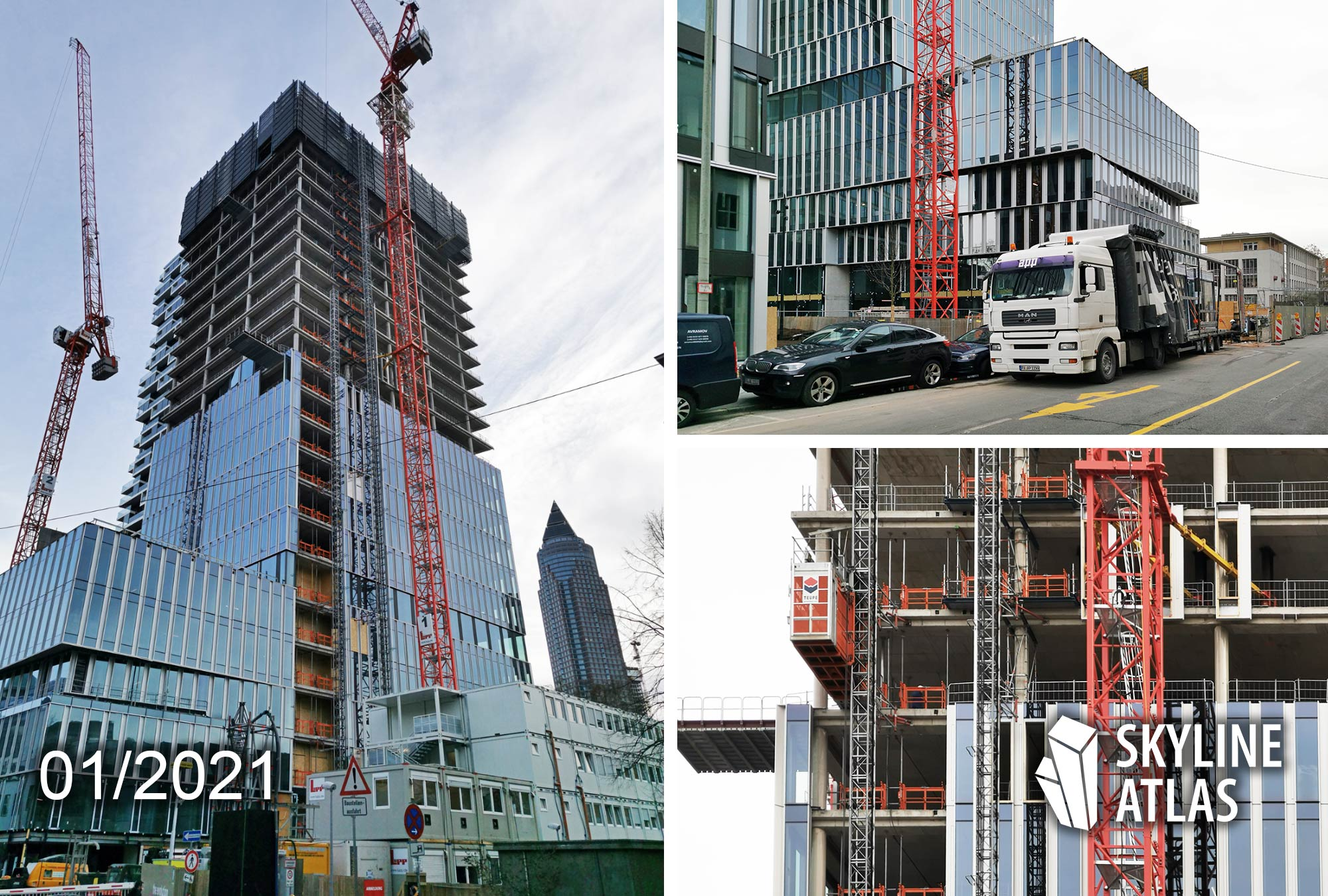 Senckenbergturm Frankfurt - Senckenberg Turm - Kulturcampus Turm - Tower 99 - Bauarbeiten Januar 2021 - Baustelle 2021