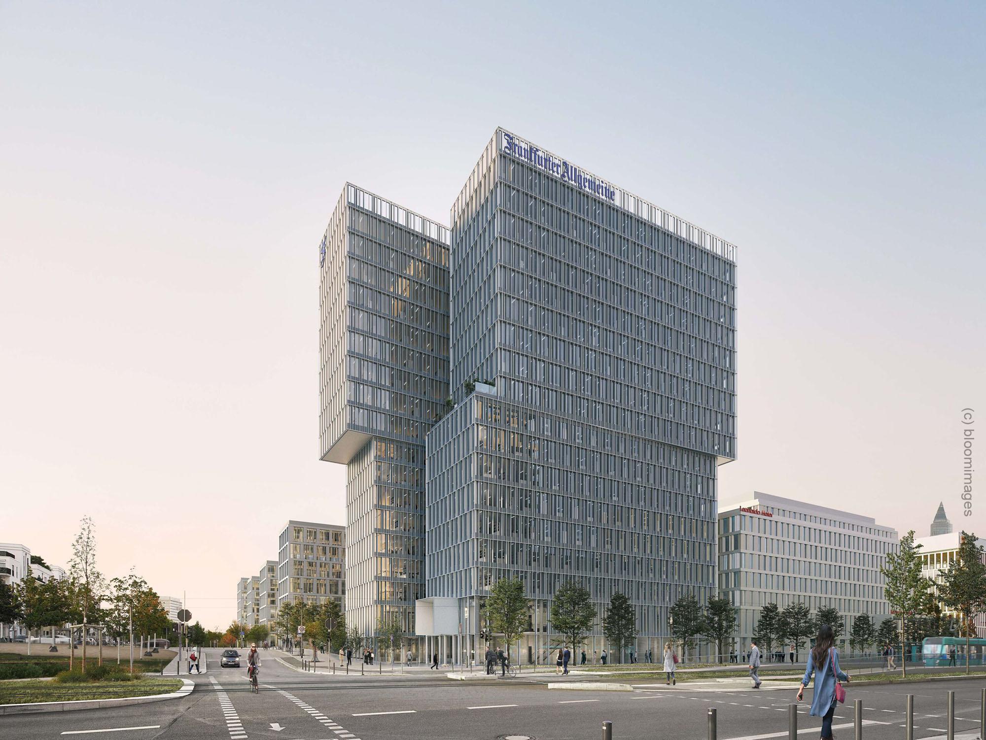 Europaallee Frankfurt - neue Hochhaus Eckperspektive - Geplanter Büroturm im Europaviertel der FAZ Zeitung