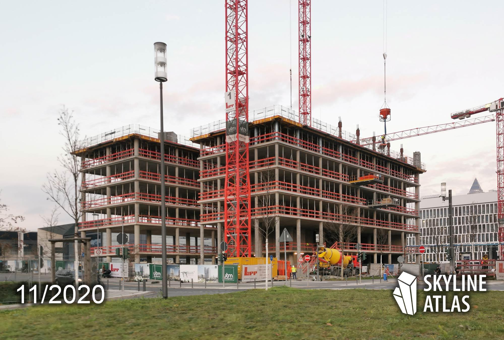 F.A.Z. Tower Frankfurt am Main - FAZ Hochhaus Europaviertel - Neues Hochhaus der Zeitung FAZ - Baustelle November 2020