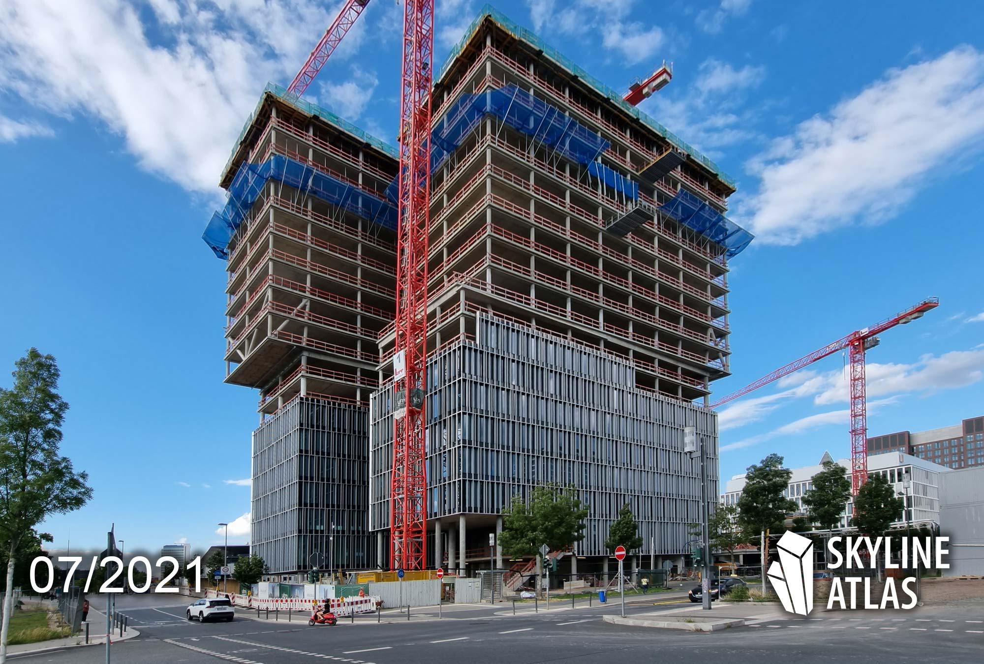 FAZ Tower Frankfurt - Frankfurter Allgemeine Zeitung - Neuer Hauptsitz Europaviertel - Baustelle Juli 2021