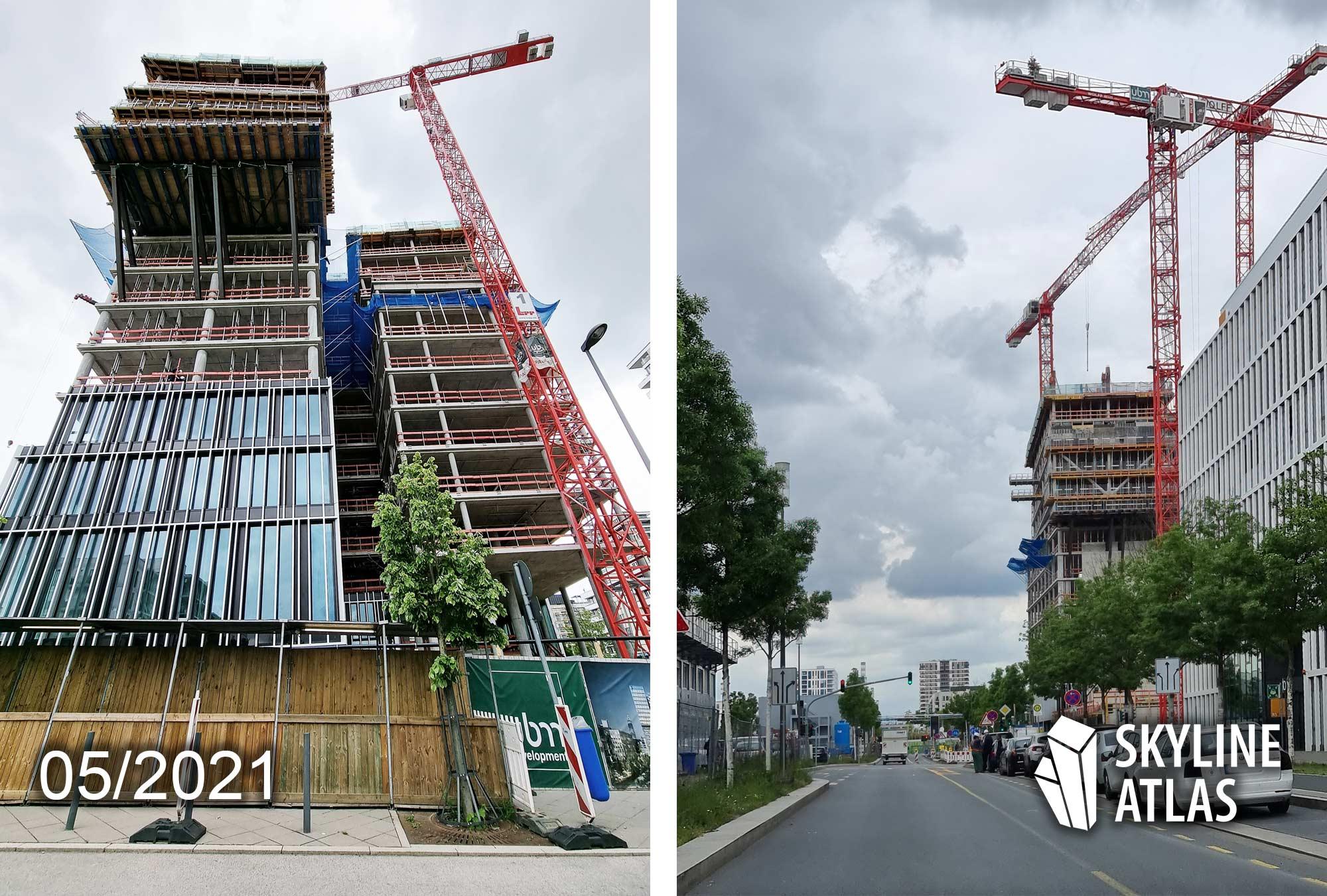 Frankfurter Allgemeine Zeitung Neubau - FAZ Neubau Mai 2021 - FAZ Hochhaus Europaviertel FFM - Baustelle 2021