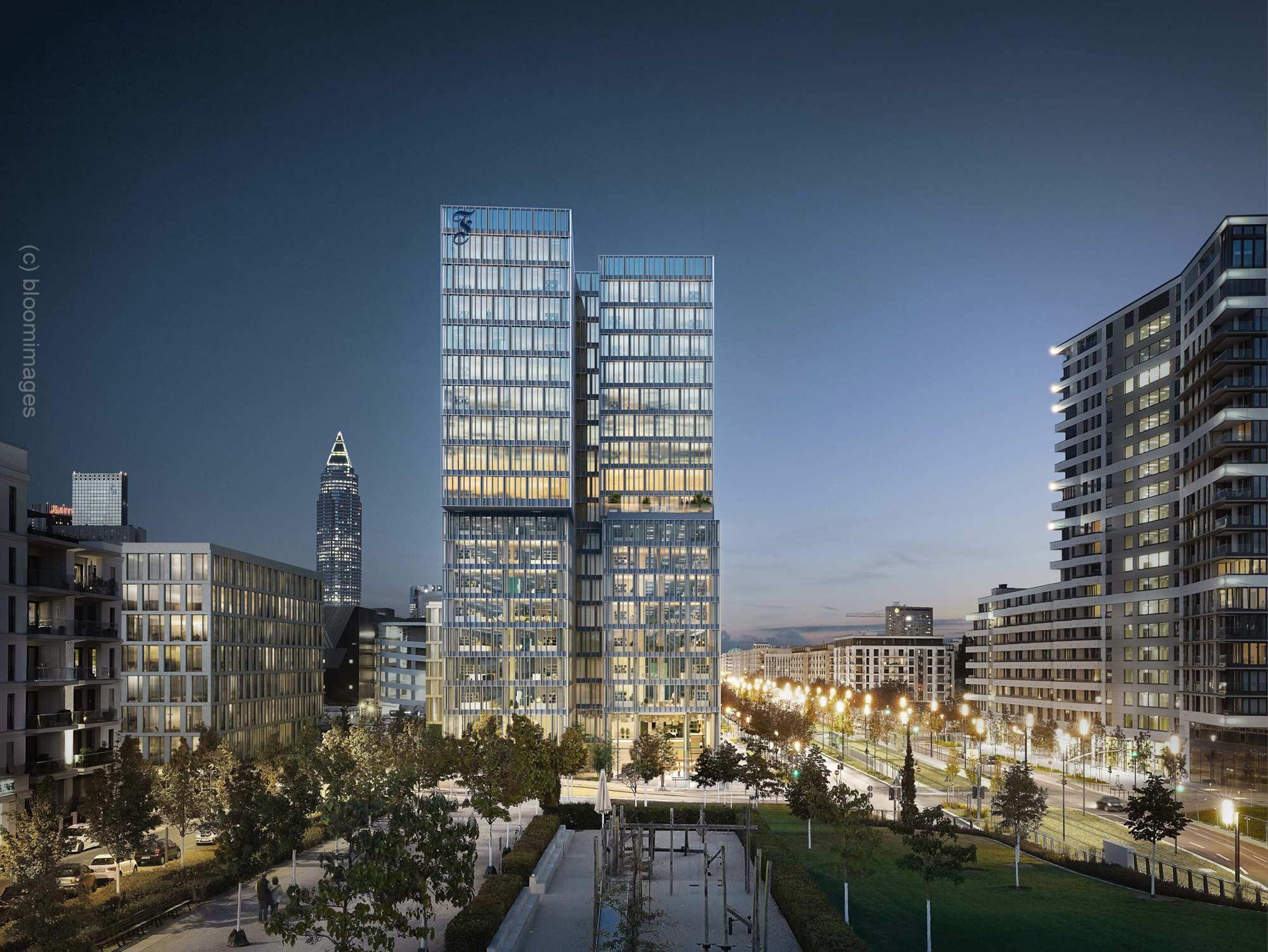 Frankfurter Allgemeine Zeitung Hochhaus - Nachtpanorama - FAZ Panorama von bloom images