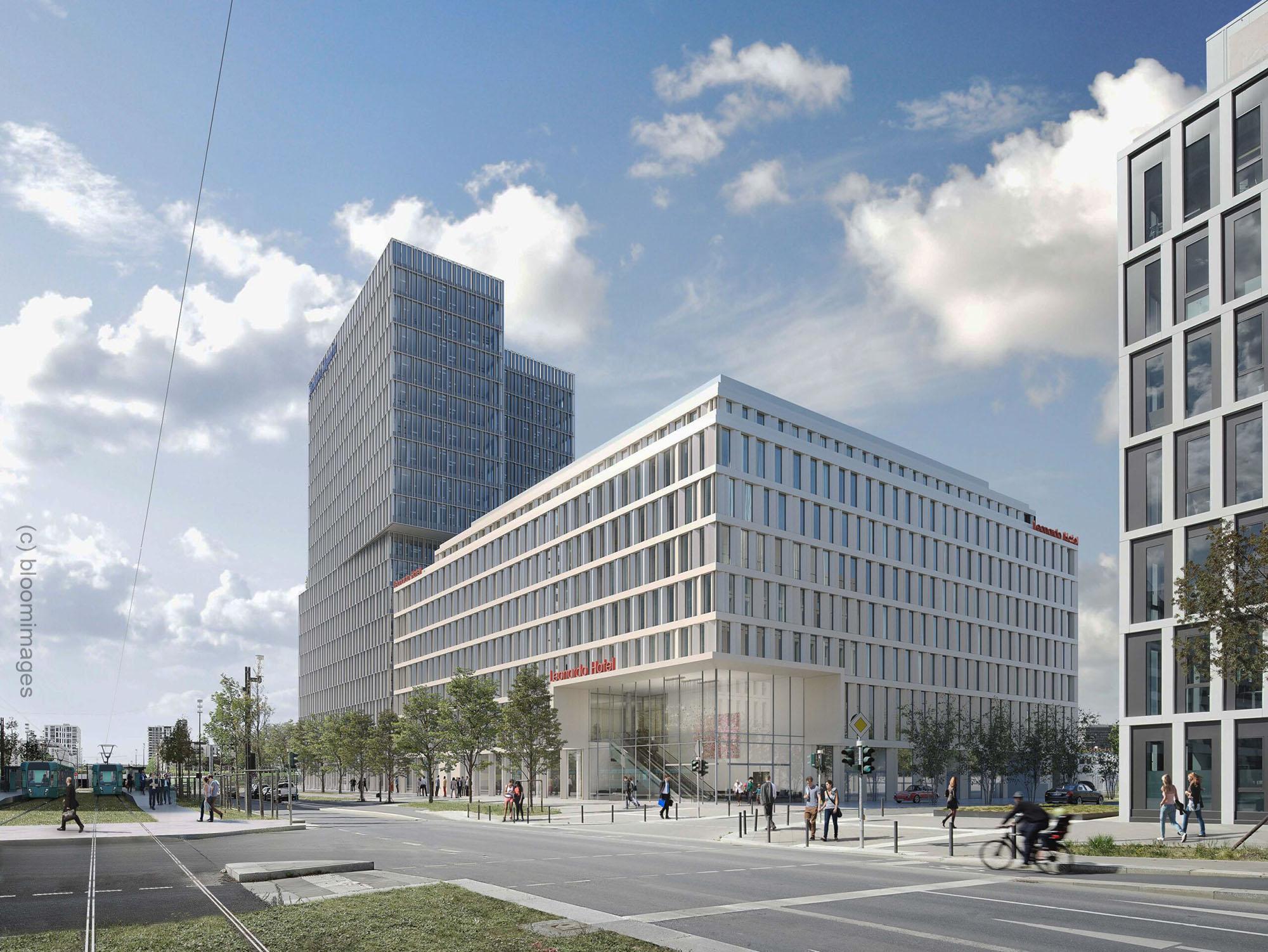 Leonardo Hotel Europaallee am Europagarten - FAZ Tower - Immobilienprojekt Paulus Immobiliengruppe und UBM Development AG in Frankfurt am Main