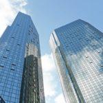 Deutsche Bank - Hauptsitz - Hochhaus - Doppeltürme - Frankfurt am Main, Deutschland