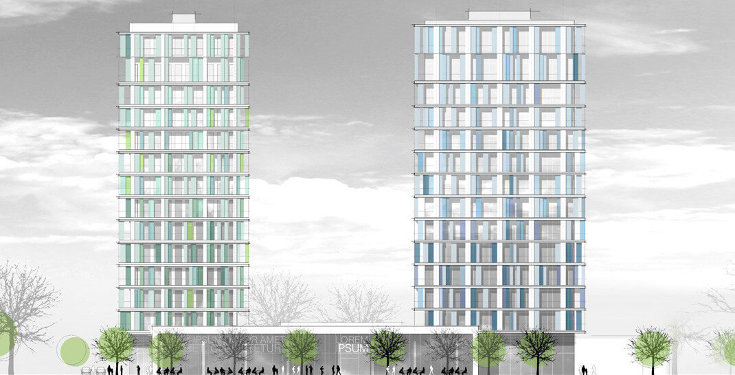 Blue Towers - geplante Wohnhochhäuser in Frankfurt - (c) planwerkstatt.Architekten