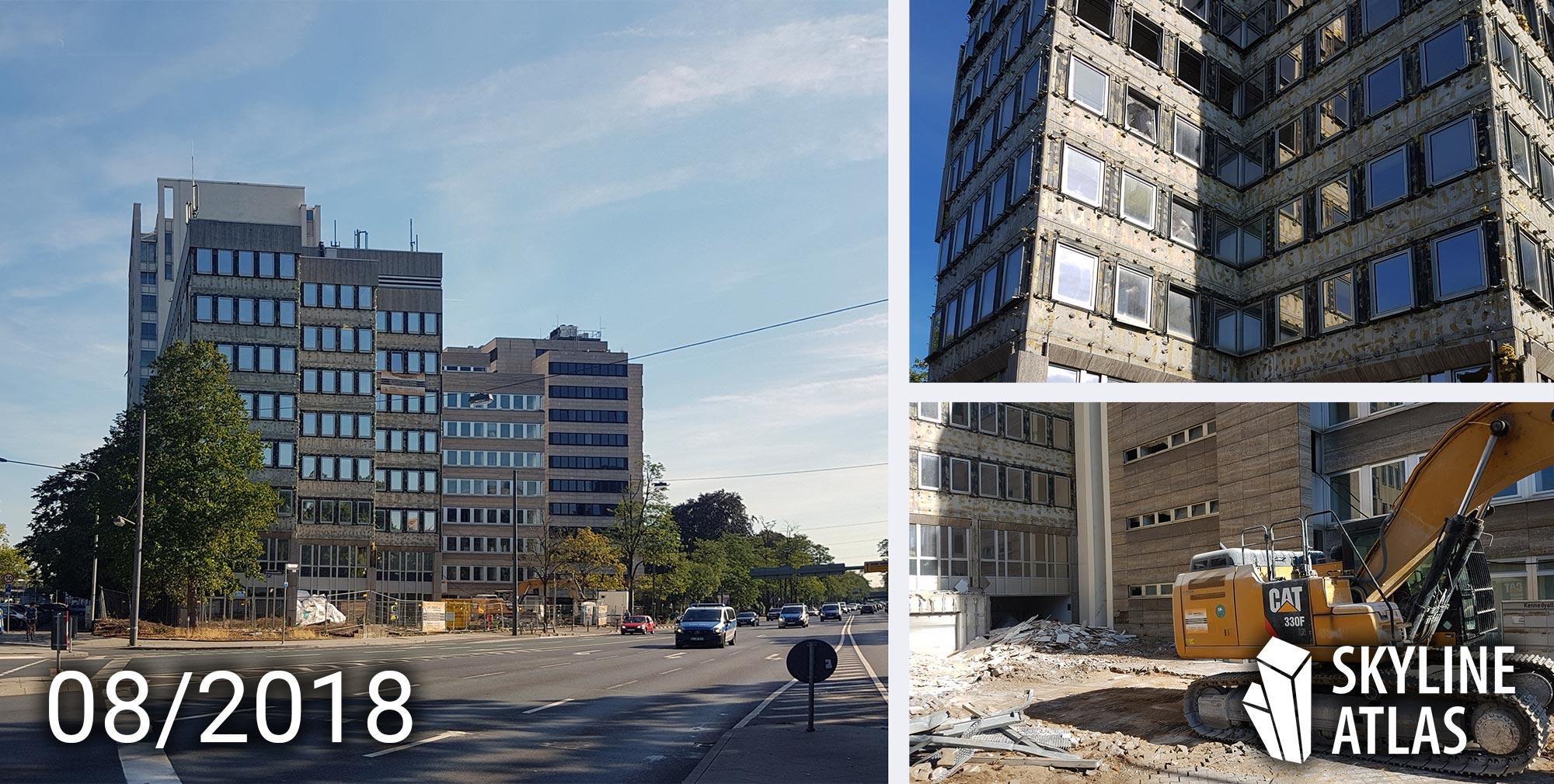 Abriss vom Hochhaus an der Ecke Kennedyallee-Stresemannallee in Frankfurt - August 2018