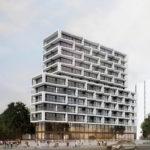 Wohnhochhaus an der Ecke Kennedyallee/Stresemannallee in Frankfurt - Entwurf von Eike Becker Architekten in Berlin - Wohnturm - Hochhaus - Wochhochhaus - geplant