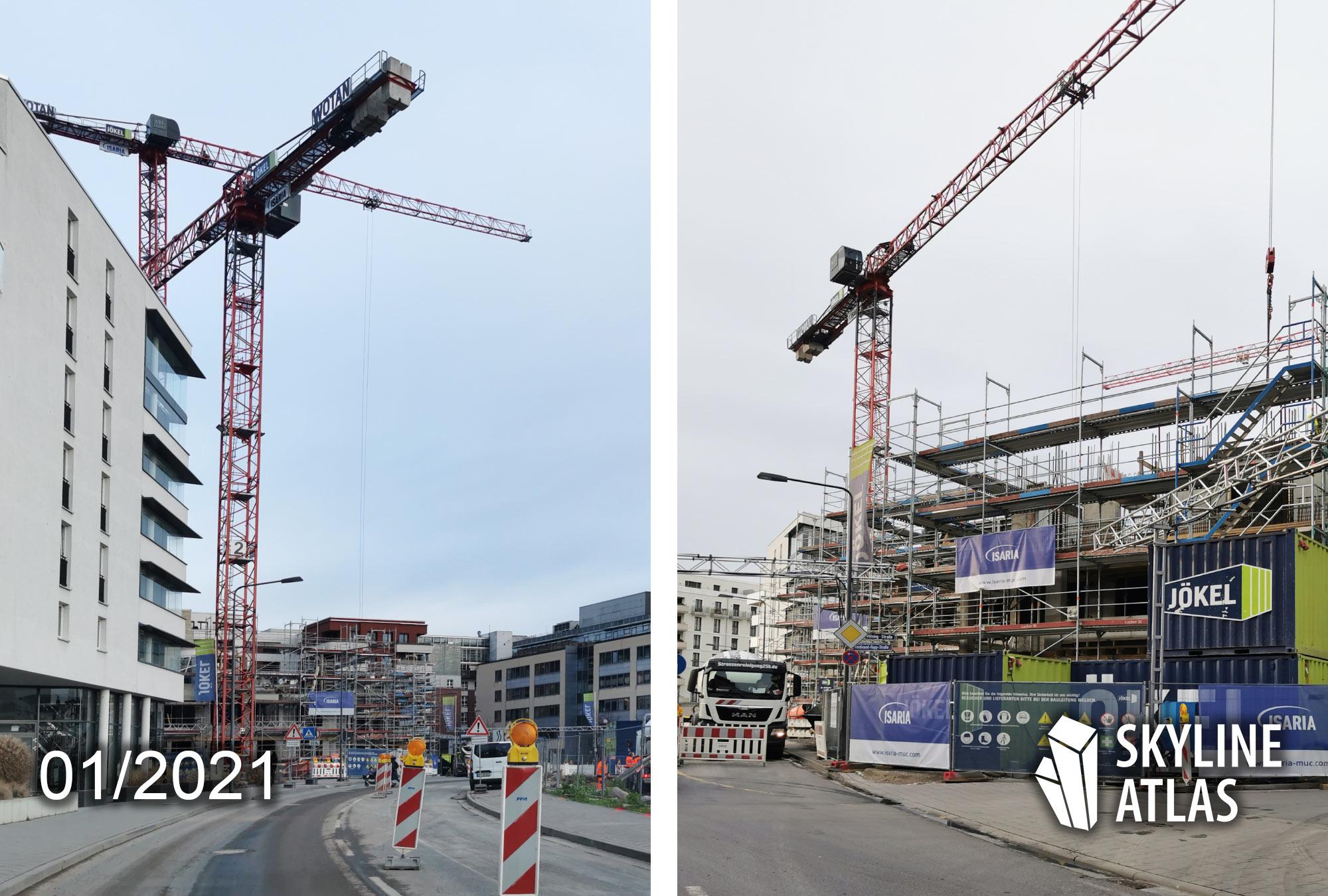 Frankfurt Great East - Isaria Wohnbau - Wohnung mieten Ostend - Baustelle Januar 2021