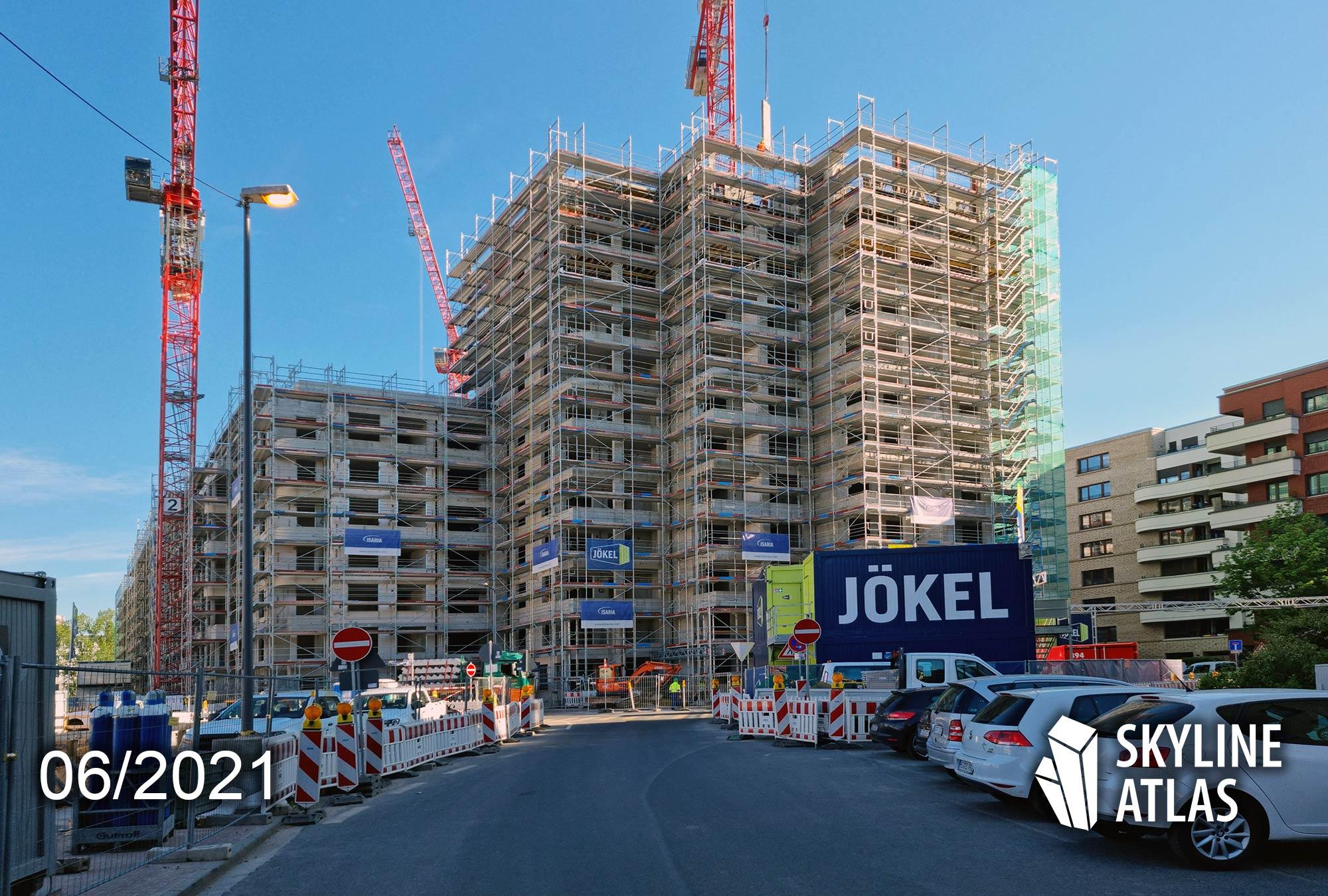 Jökel Frankfurt Bauunternehmen - Insaria Wohnbau Frankfurt - Great East FFM - Frankfurt Ostend Wohnungen - Neubau Wohnungen - Juni 2021 - Baustelle Hochhaus FFM