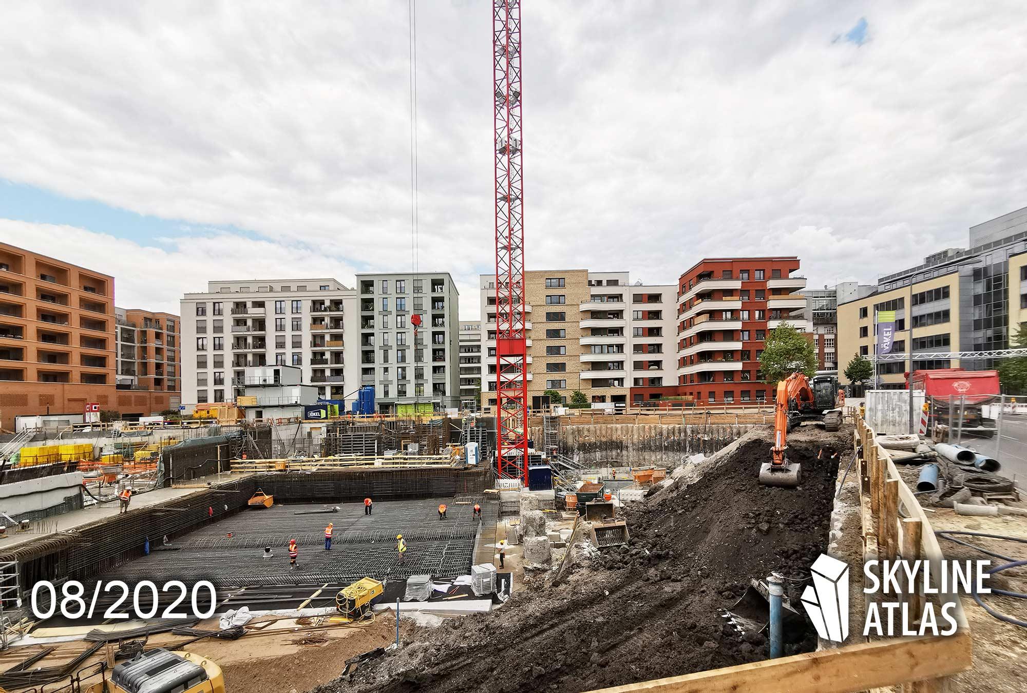 Neubau Ostend Frankfurt Eastside - Fundament Bauarbeiten - Wohnungen Ostend - Eigentumswohnungen Ostend