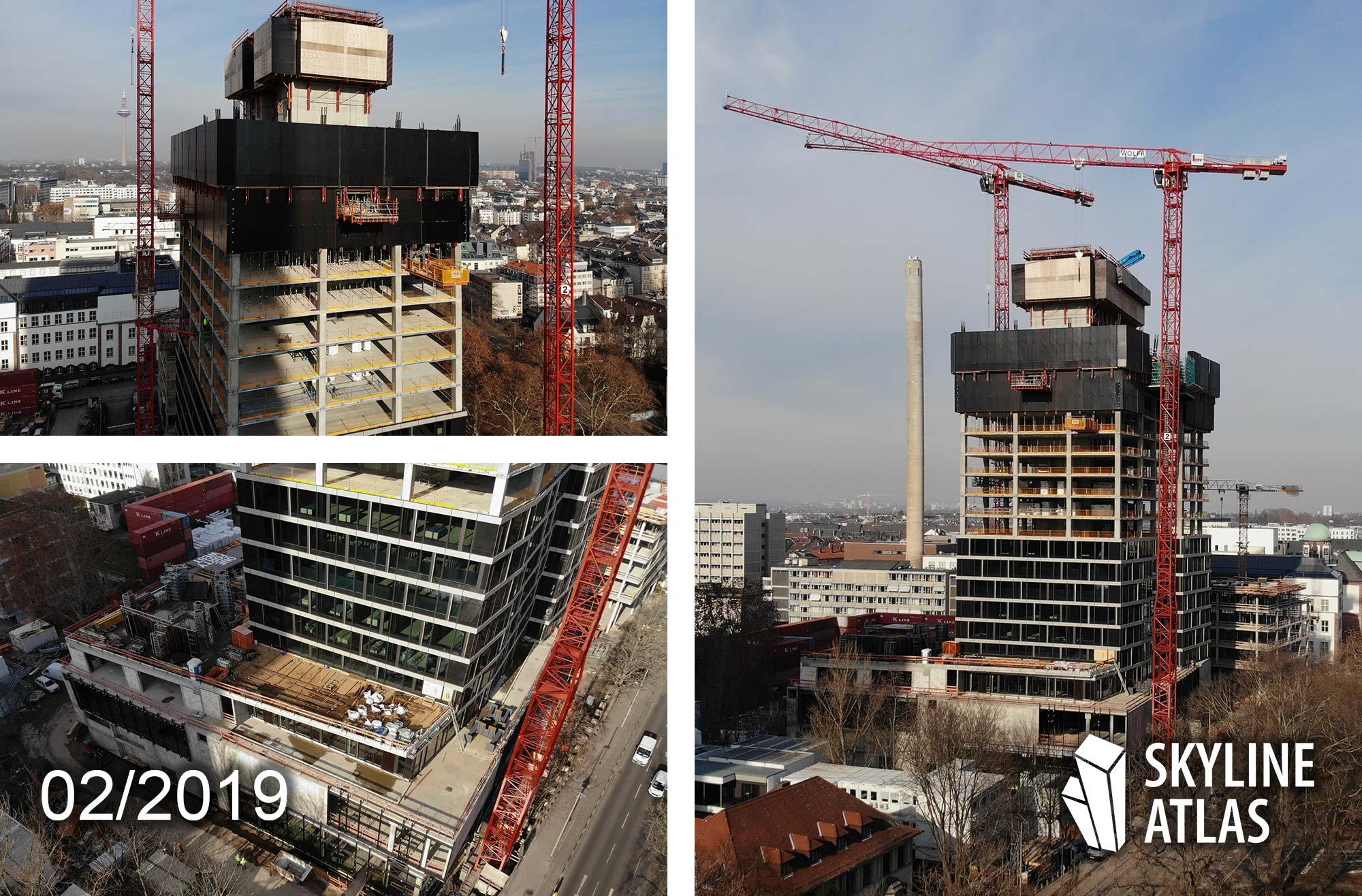 ONE FORTY WEST - 140 West - Hochhaus der hausinvest - Projekt der Commerz Real - Frankfurt Wohnturm - Hochhaus-Baustelle im Bau