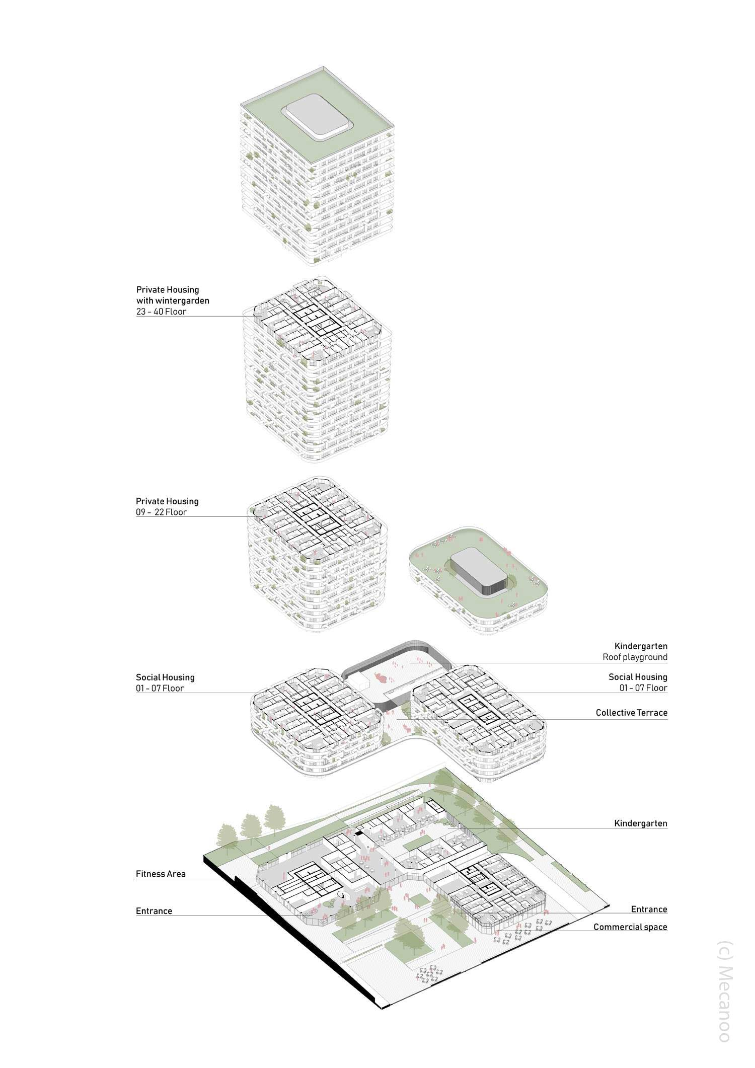 Übersicht der Geschosse und der Architektur - Etagen im Querschnitt - Grand Central Hochhaus in Frankfurt am Main - Architekten: Mecanoo