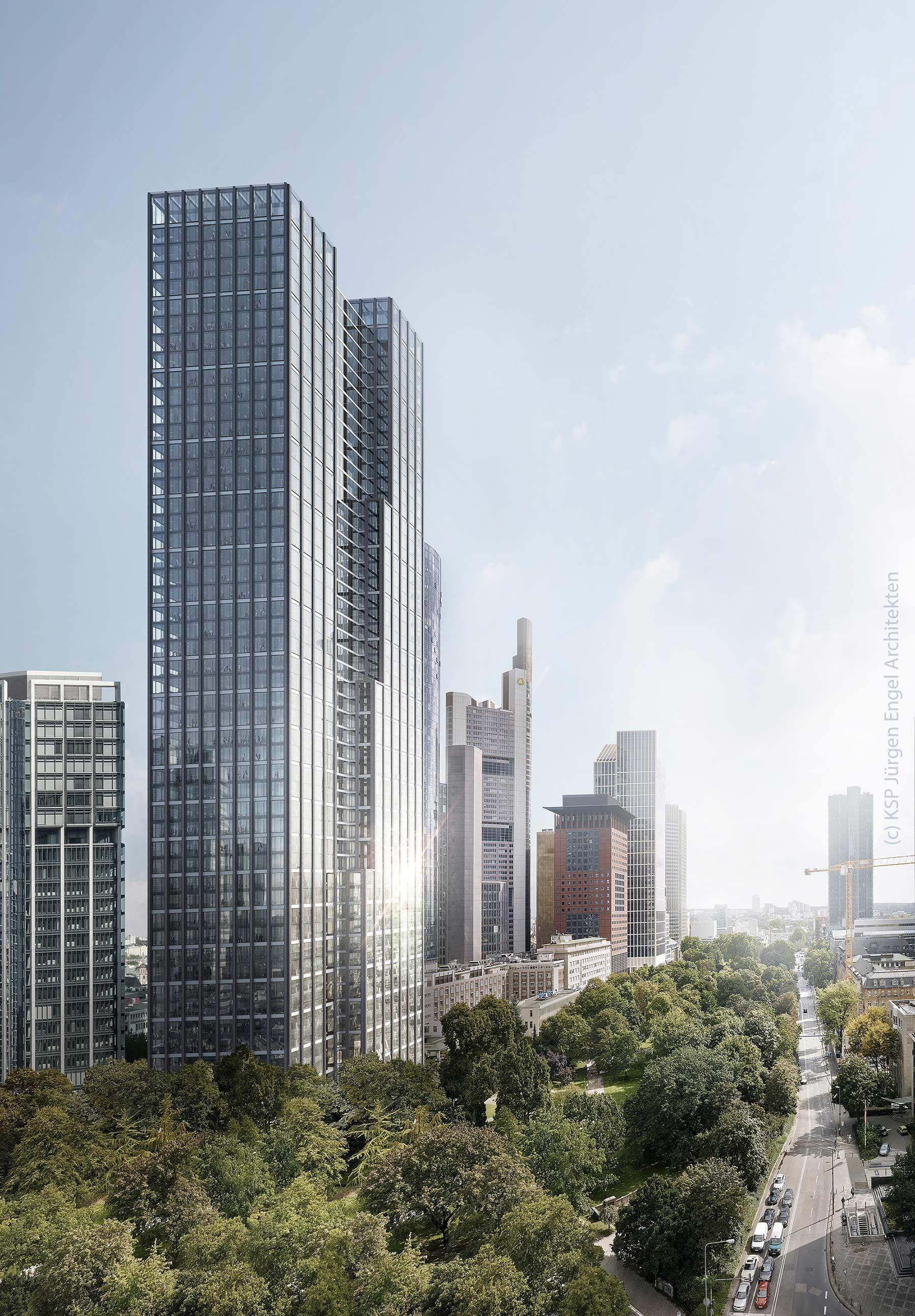 Hochhauskomplex Neue Mainzer Straße in Frankfurt am Main - Helaba Hochhaus - KSP Jürgen Engel Architekten - Rendering